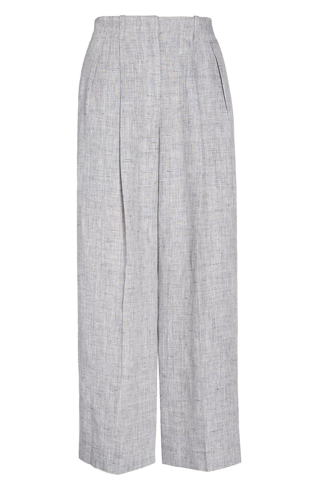 Alternate Image 4  - Michael Kors Pleated Crop Mélange Linen Pants