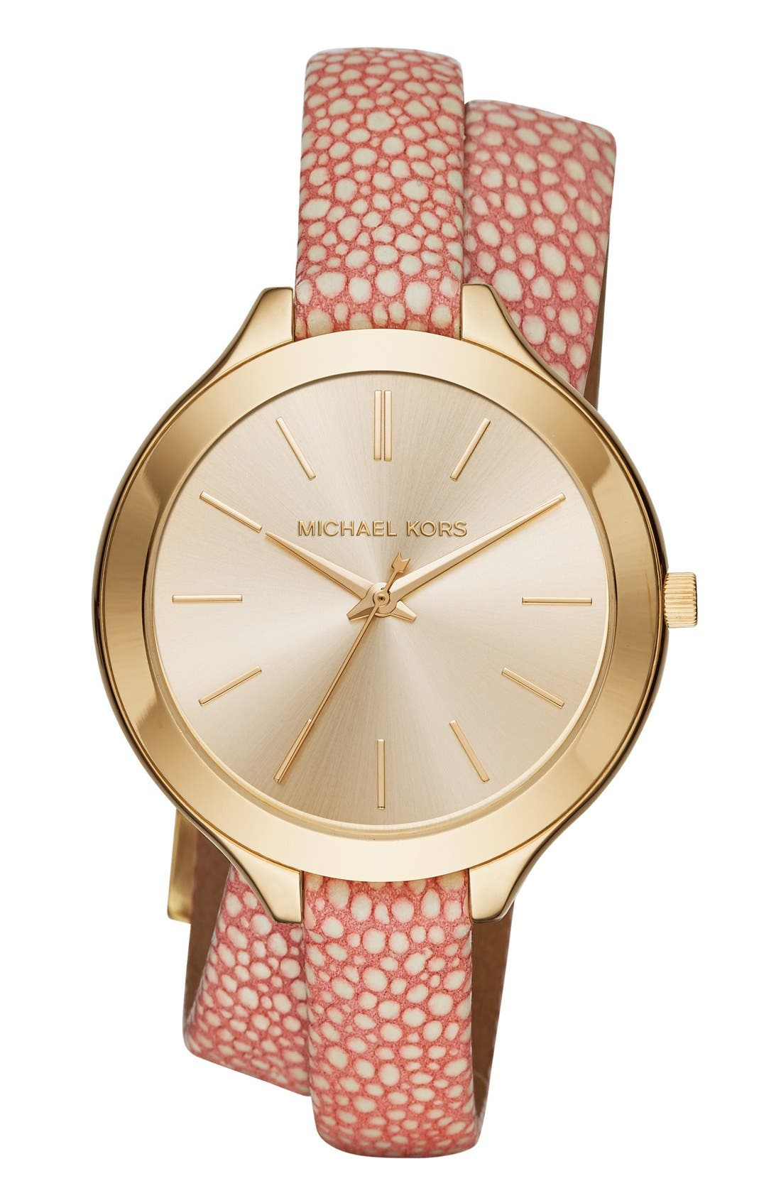 Main Image - MICHAEL Michael Kors 'Slim Runway' Leather Strap Watch, 42mm