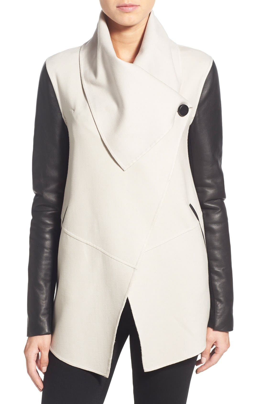 Alternate Image 4  - Mackage Leather Sleeve Wool Blend Drape Collar Coat