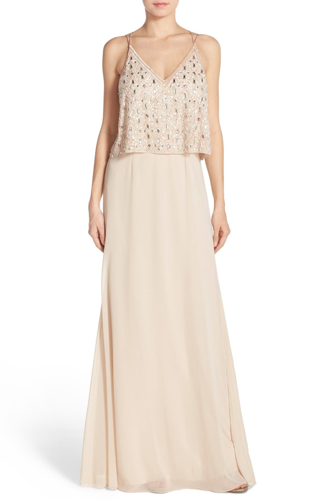 Main Image - Aidan Mattox Embellished Popover Georgette Gown