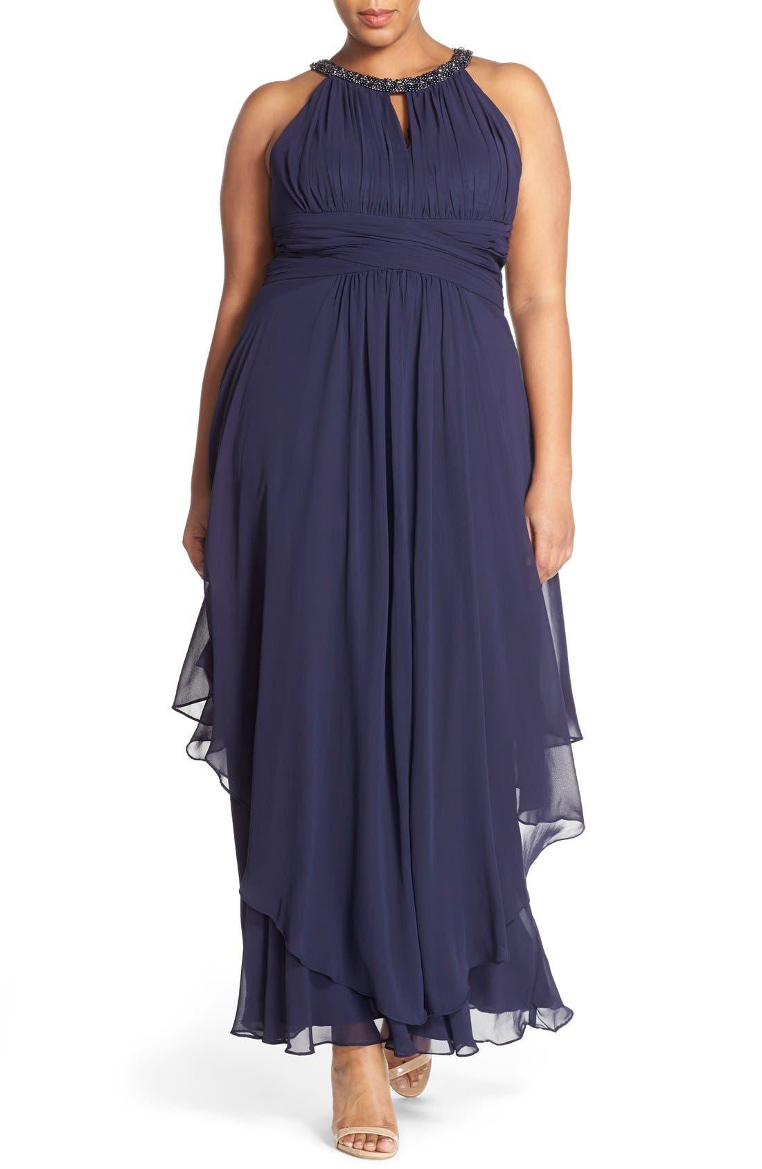 ELIZA J Embellished Keyhole Neck Chiffon Gown
