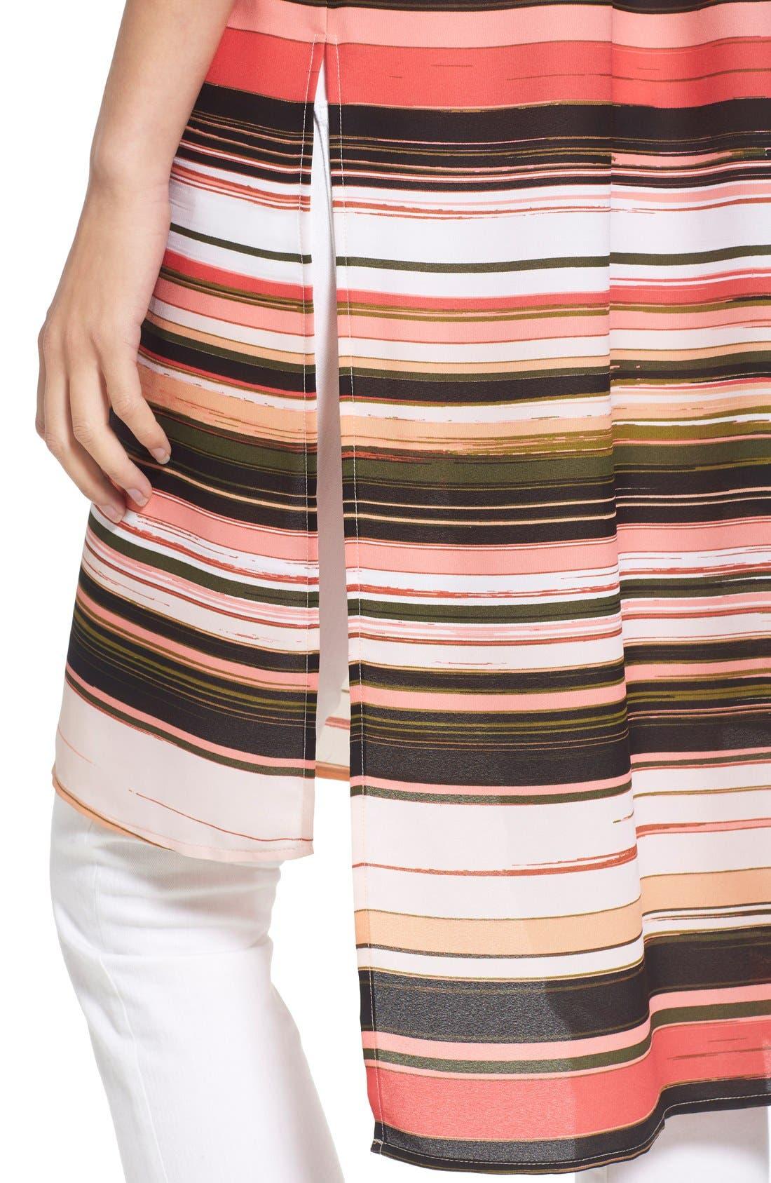 Alternate Image 4  - Vince Camuto Long High/Low Stripe Tunic (Regular & Petite)