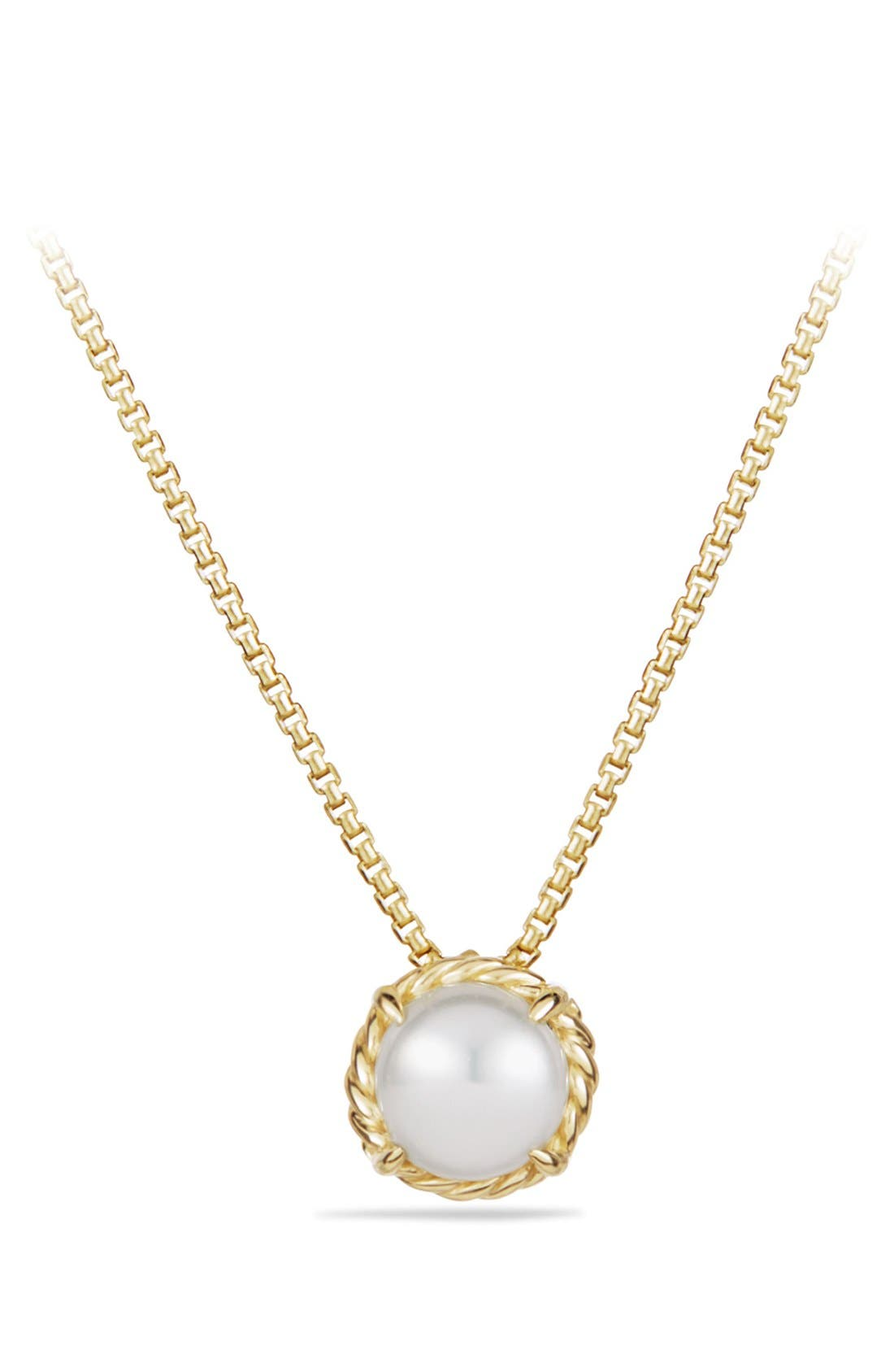 David Yurman 'Châtelaine' Pendant Necklace with Freshwater Pearl in 18K Gold