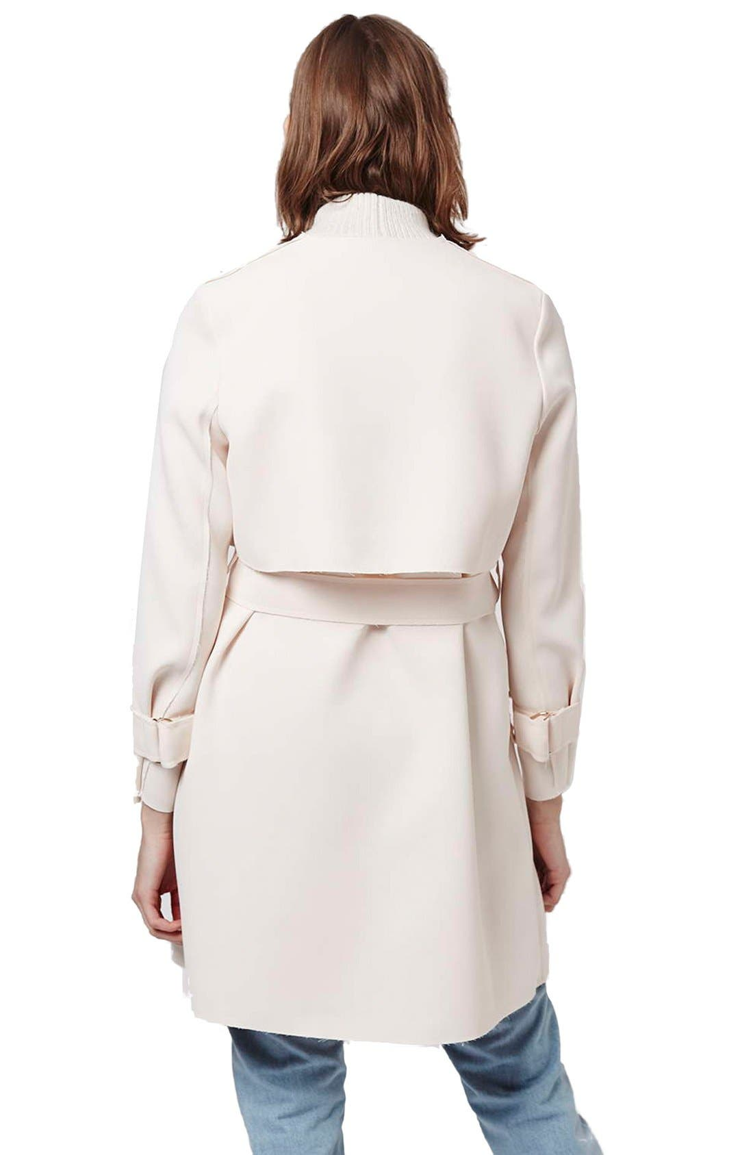Alternate Image 3  - Topshop 'Putty' Raw Edge Belted Coat