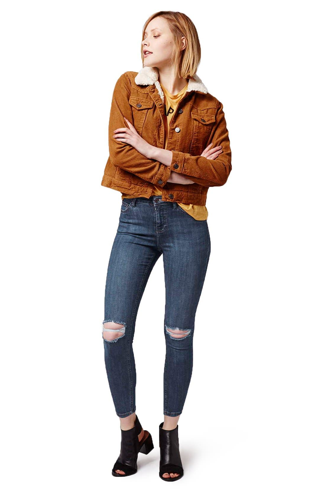 Alternate Image 2  - Topshop 'Jamie' Ripped Crop Skinny Jeans (Navy Blue) (Petite)