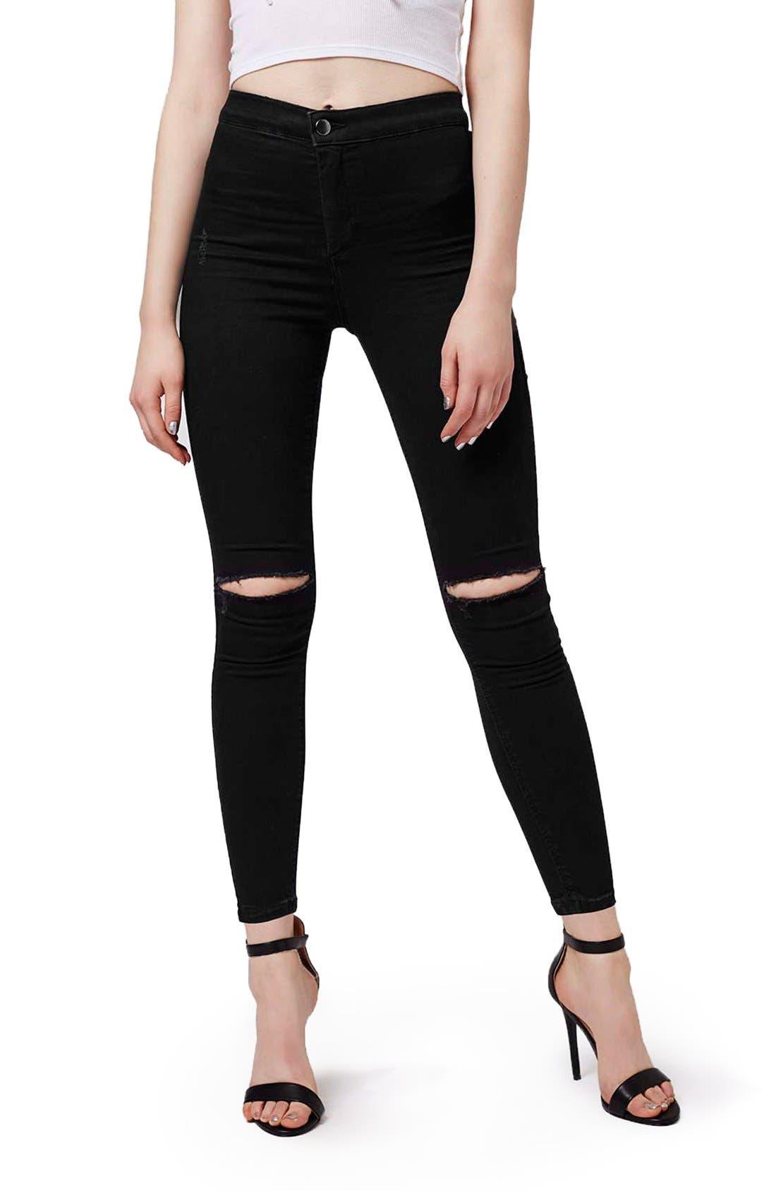Main Image - Topshop Moto 'Joni' Ripped Skinny Jeans (Petite)