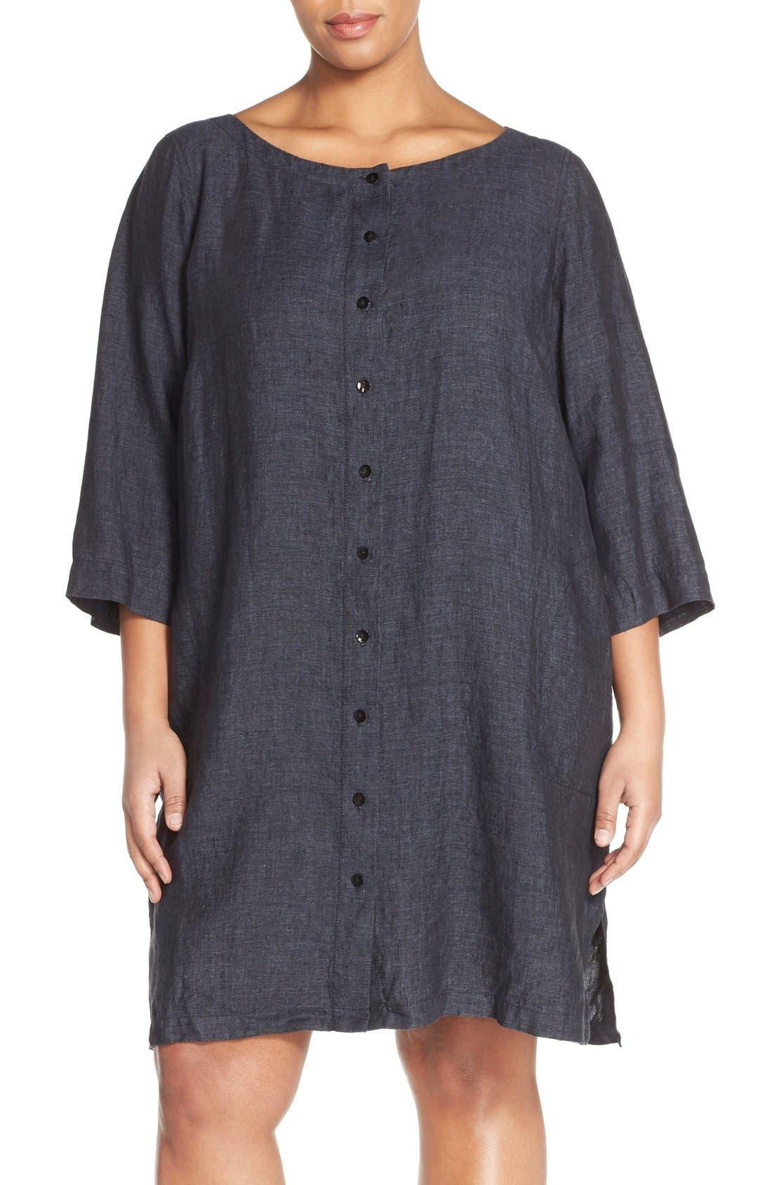 Main Image - Eileen Fisher Organic Linen Bateau Neck Shift Dress (Plus Size)