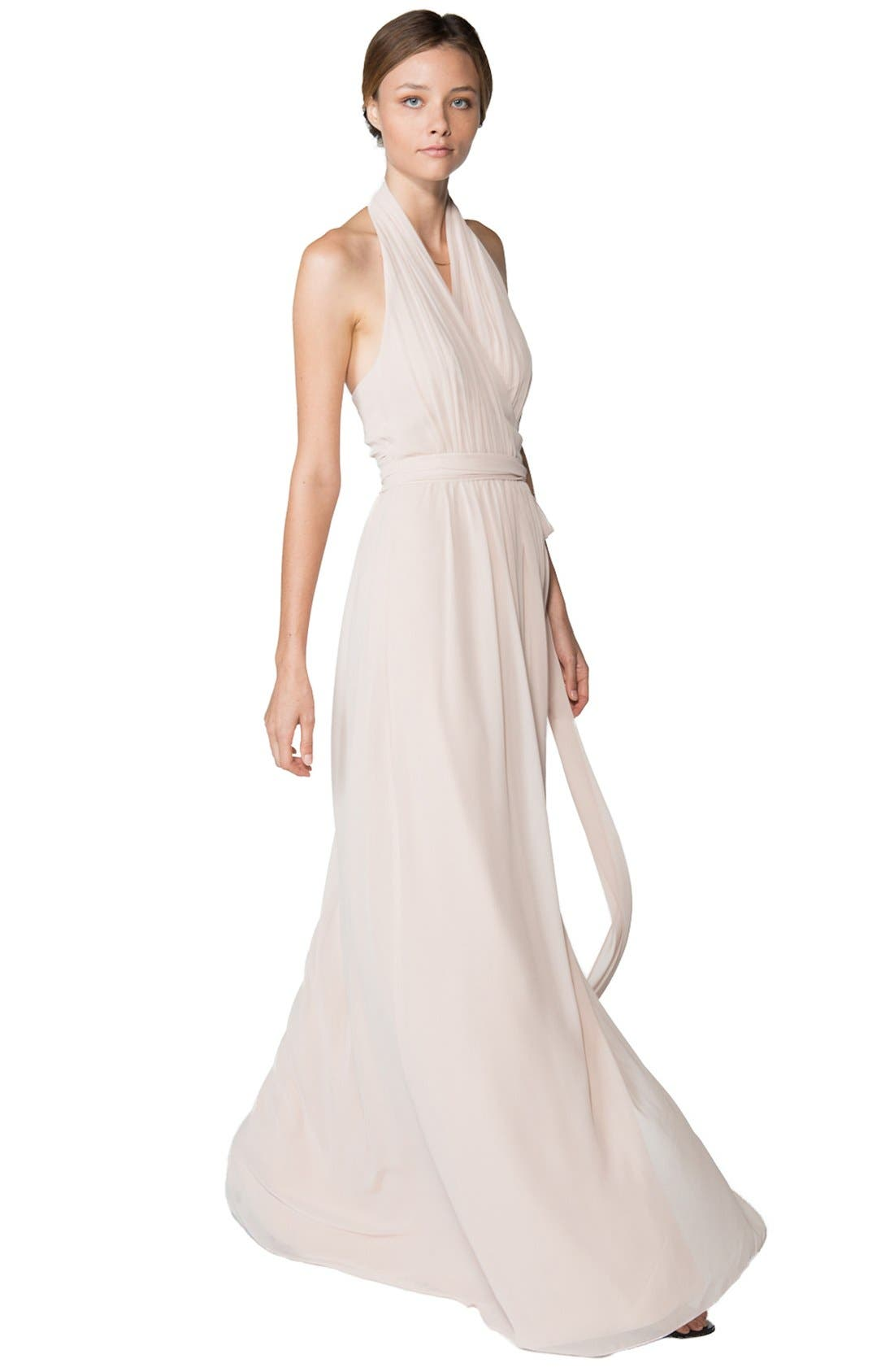 Alternate Image 1 Selected - Ceremony by Joanna August 'Amber' Side Tie Chiffon Halter Gown