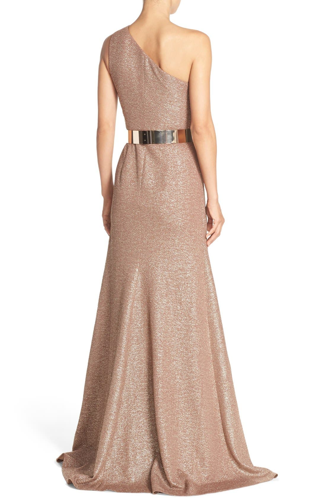 Alternate Image 2  - David Meister Belted Metallic Knit Gown