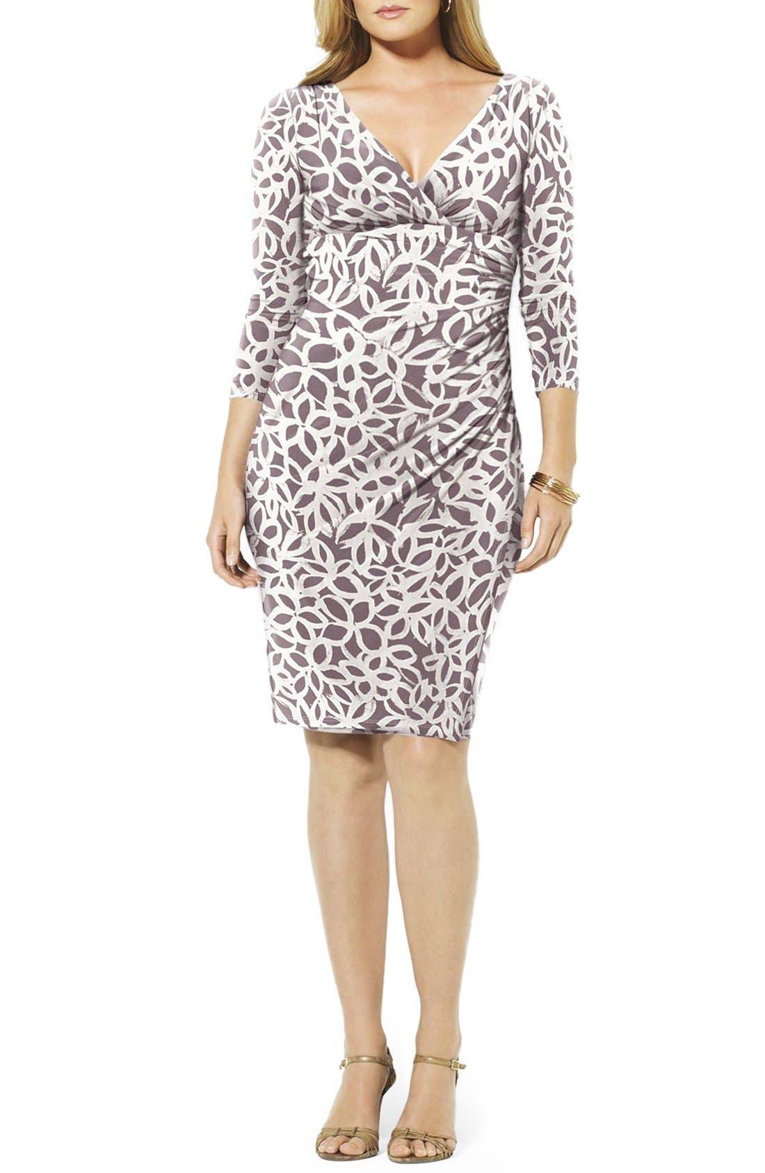Lauren Ralph Lauren Print Faux Wrap Jersey Dress (Plus Size)