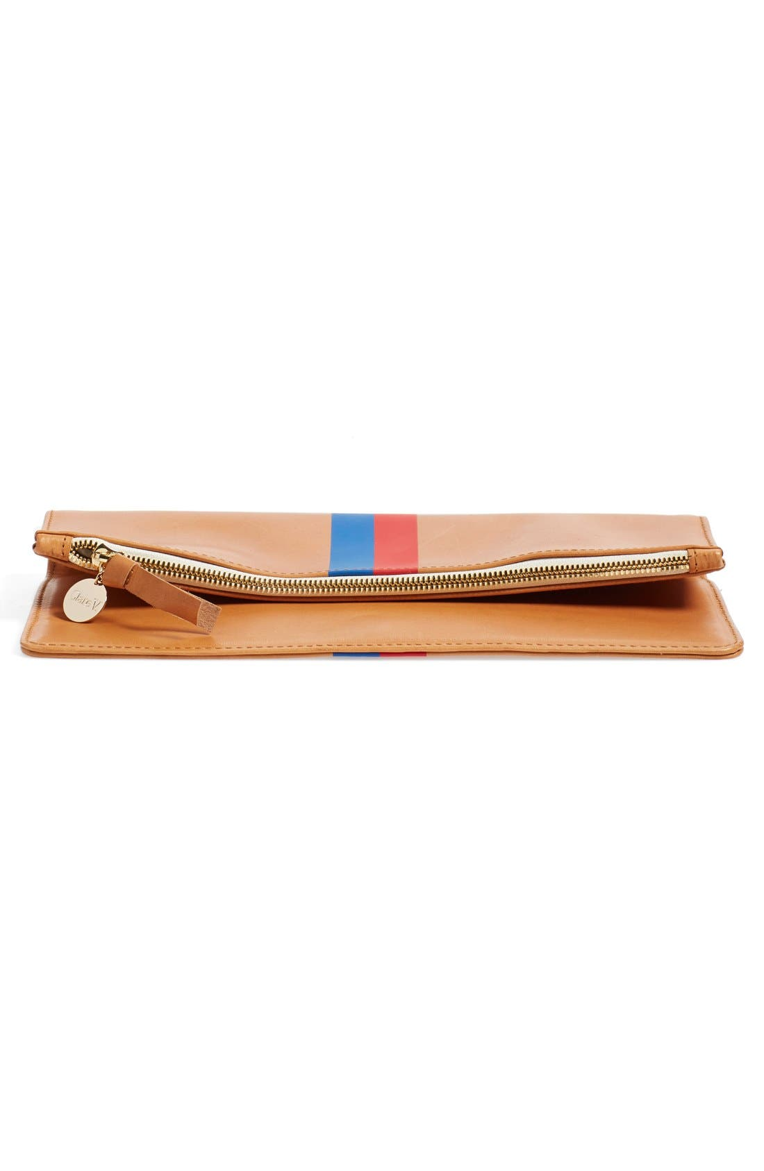 Alternate Image 6  - Clare V. 'Margot' Stripe Leather Foldover Clutch