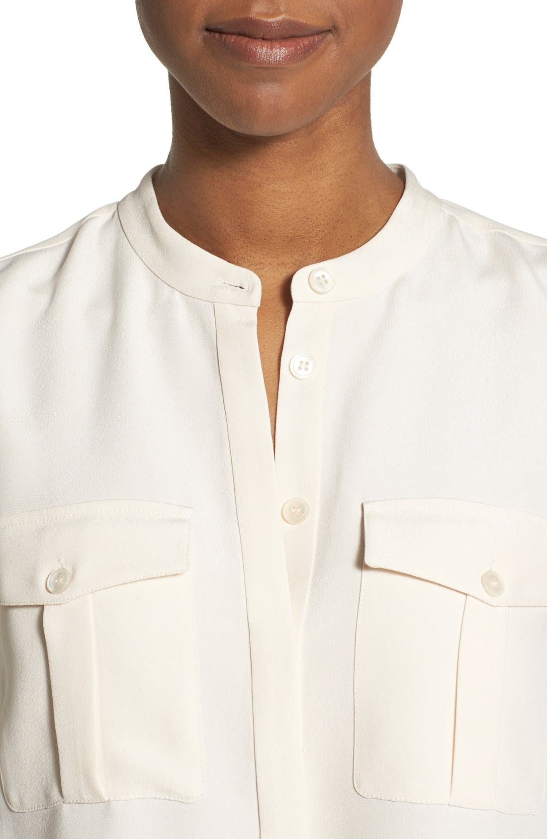 Alternate Image 4  - Nordstrom Collection Sandwashed Silk Band Collar Blouse
