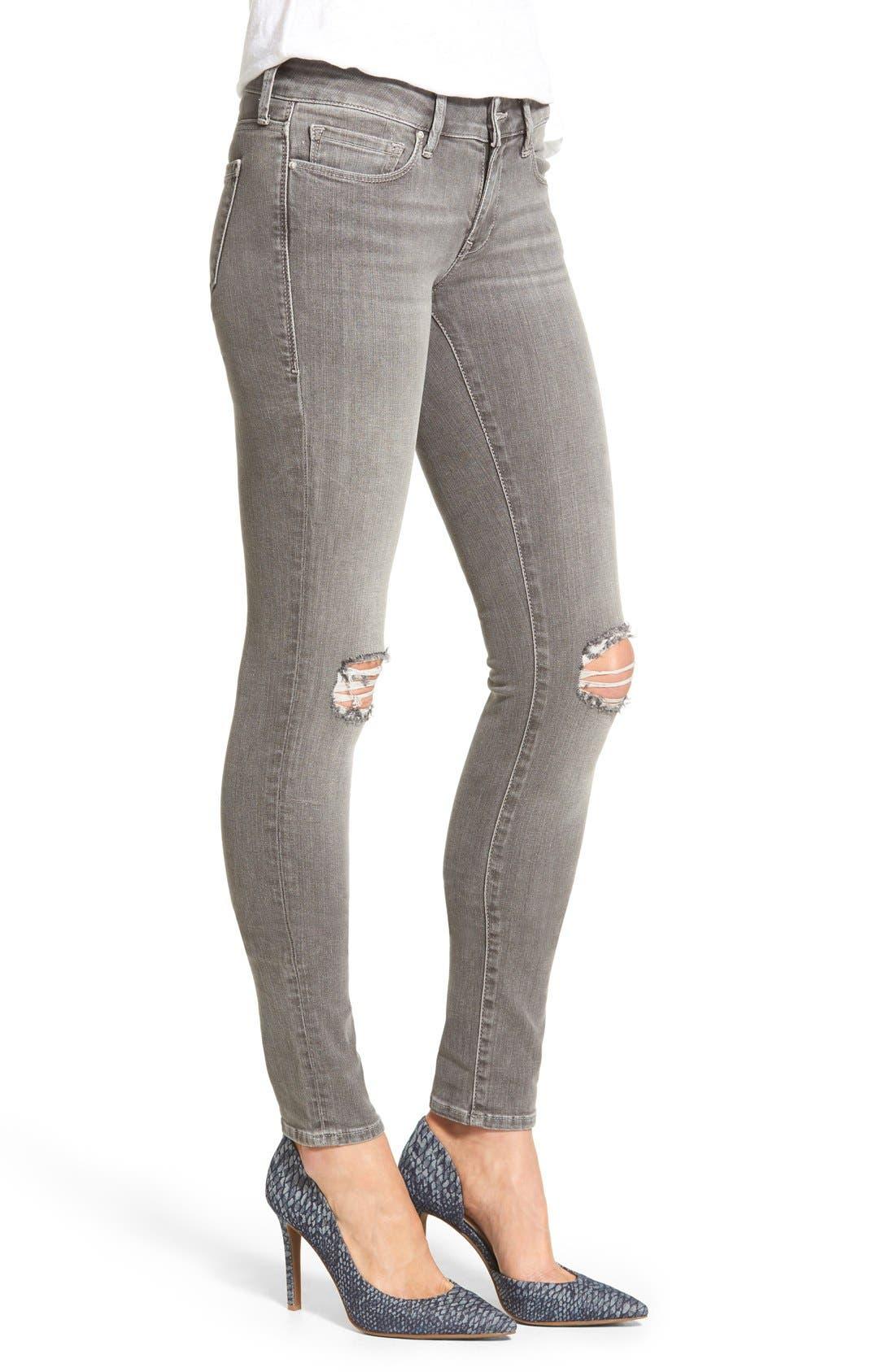 Alternate Image 3  - Mavi Jeans 'Serena' Distressed Stretch Skinny Jeans (Grey Ripped)