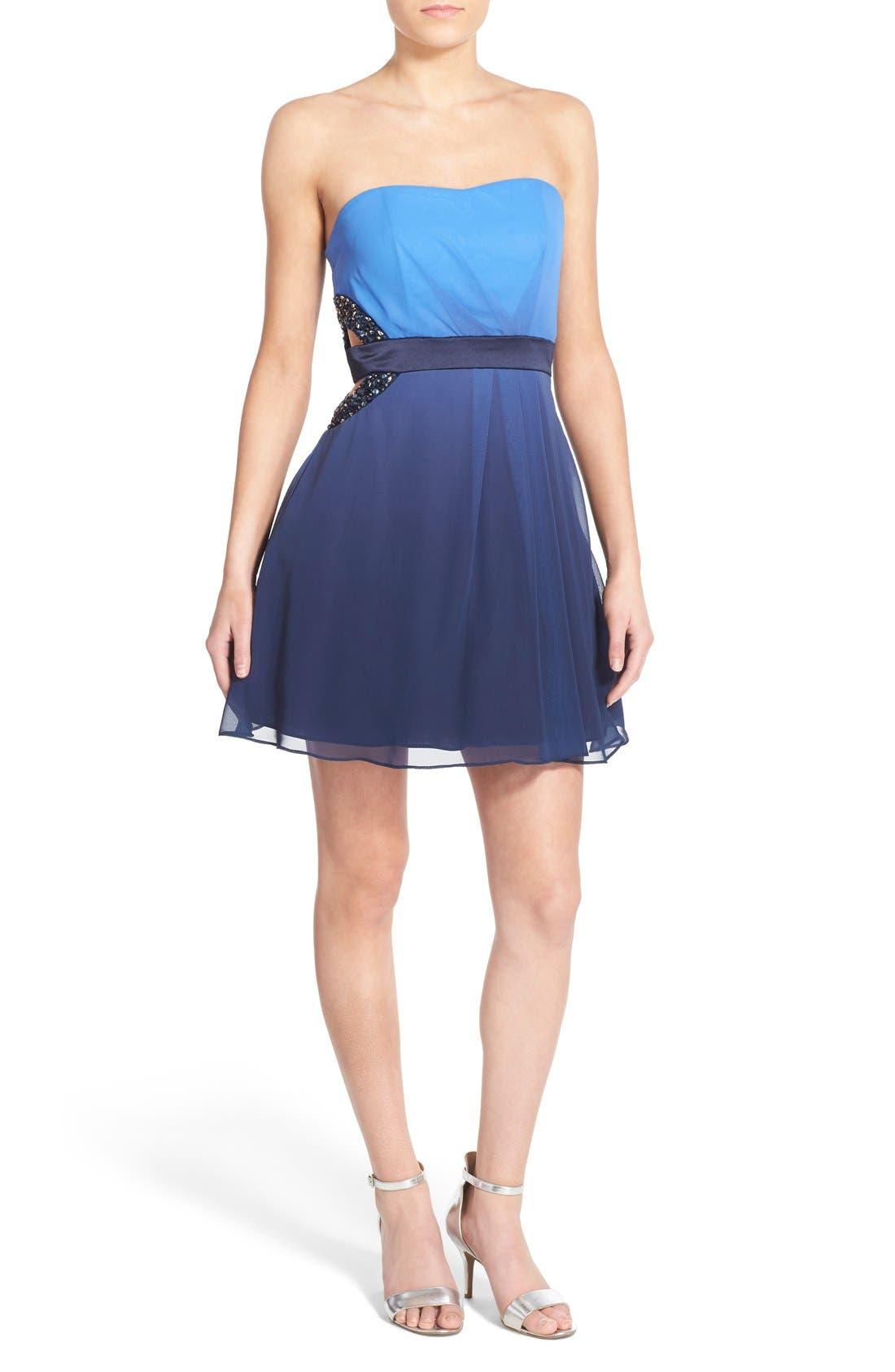 Main Image - Dear Moon Embellished Side Cutout Skater Dress