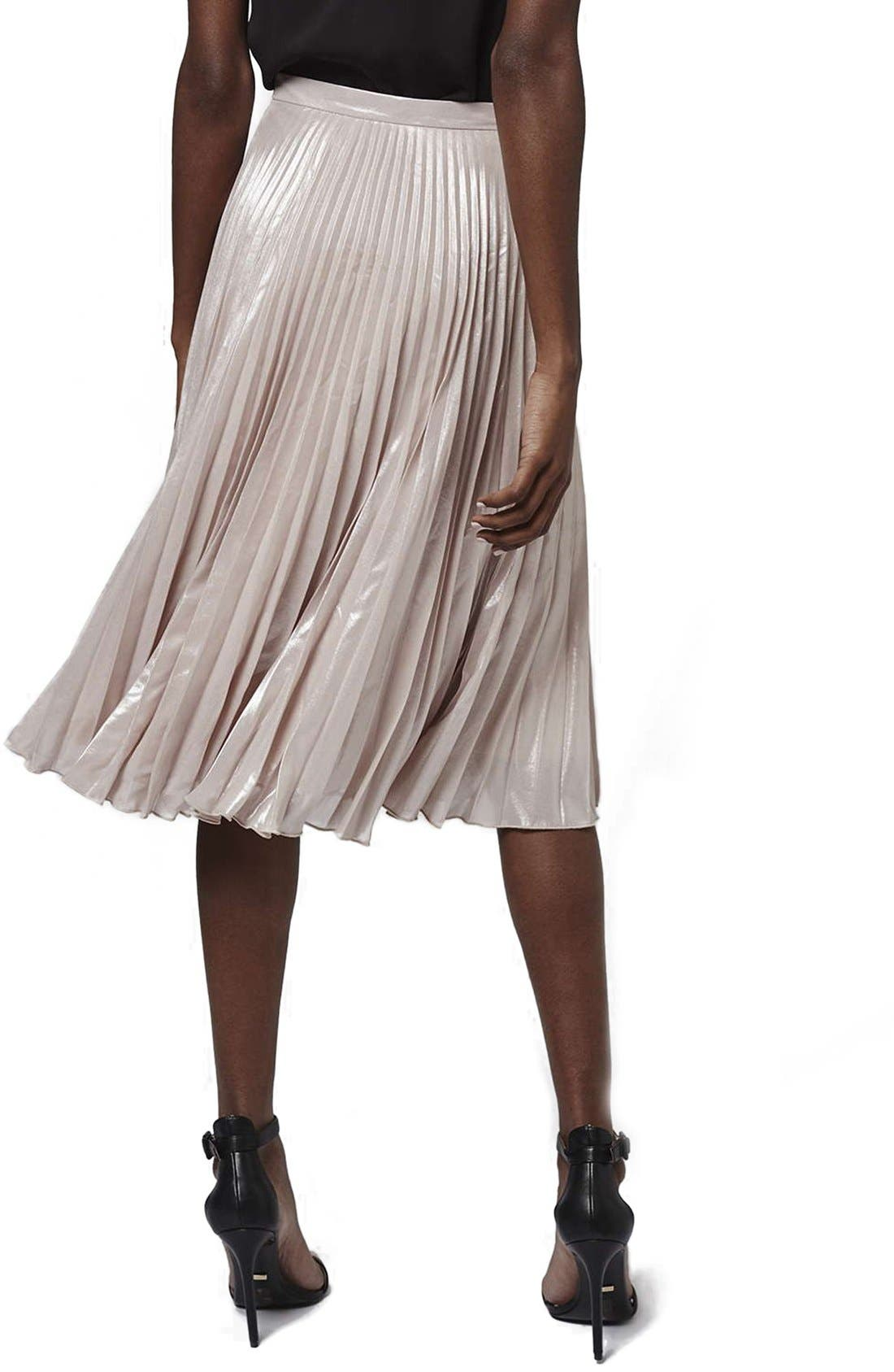 Alternate Image 3  - Topshop Metallic Pleated Midi Skirt (Petite)