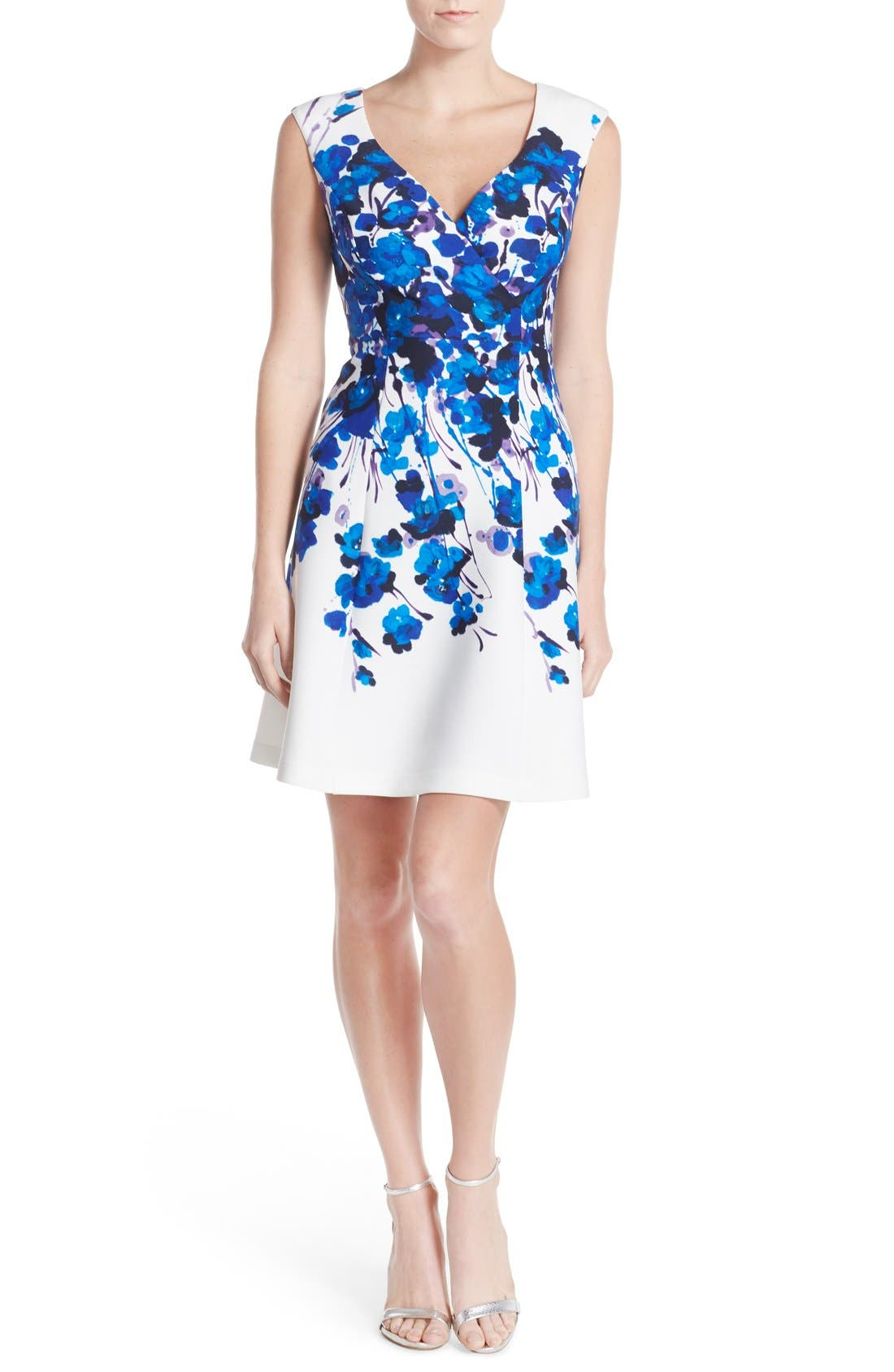 Alternate Image 4  - Adrianna Papell Placed Print Stretch Fit & Flare Dress