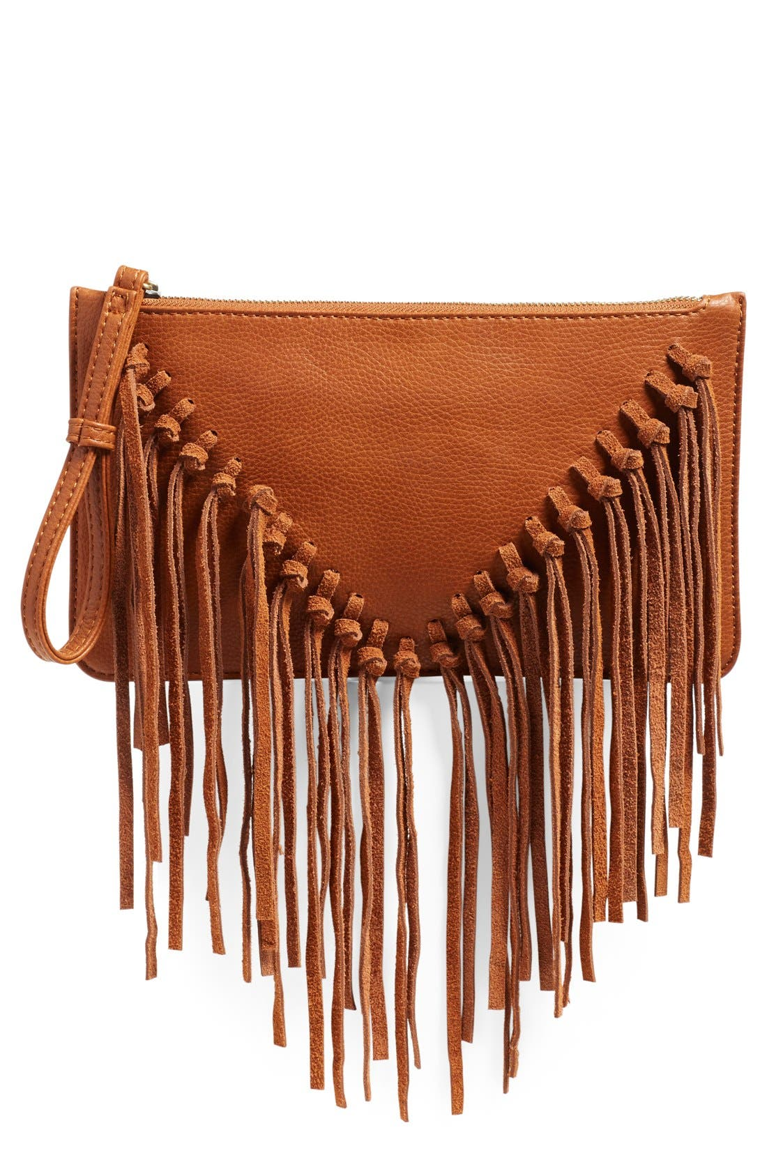 Main Image - Sole Society Suede Fringe Clutch