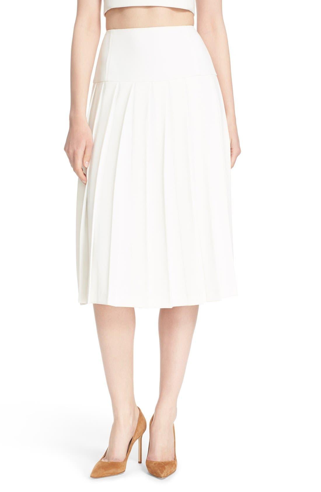 Main Image - Alice + Olivia 'Joann' Pleated Midi Skirt