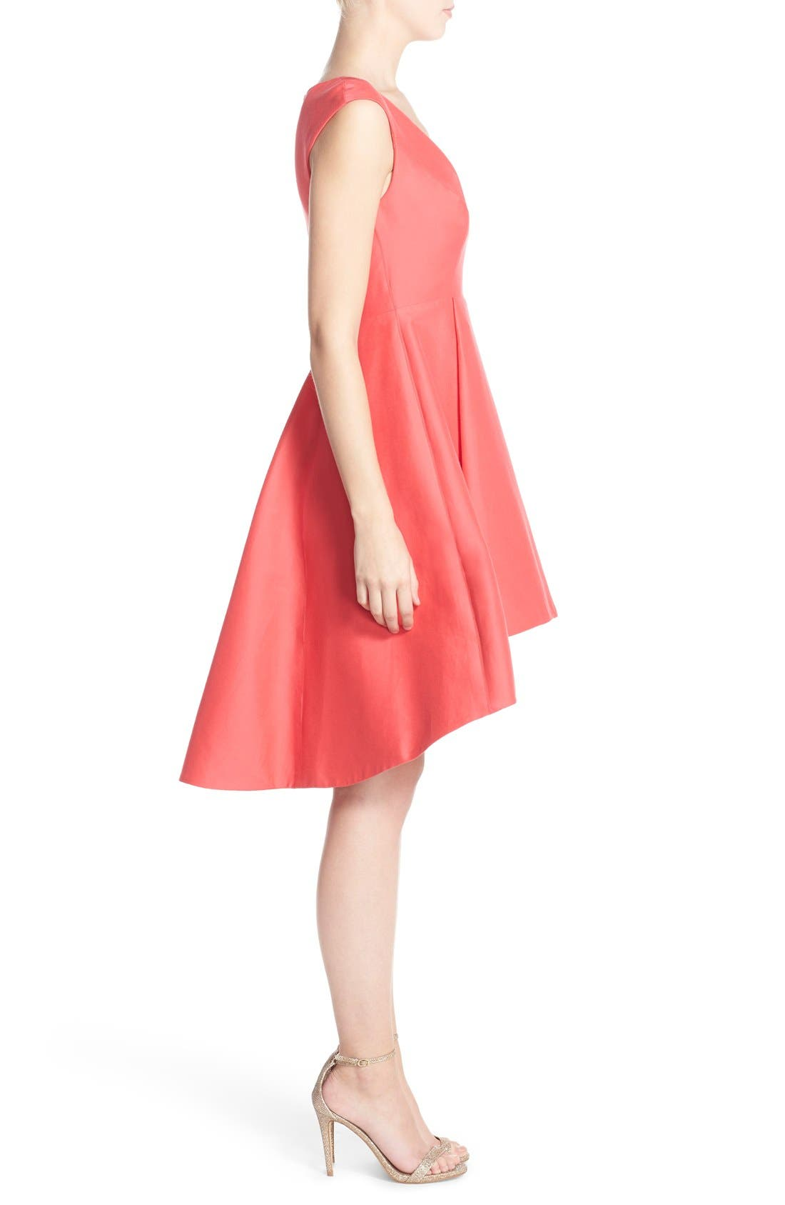 Alternate Image 3  - Halston Heritage Cap Sleeve High/Low Fit & Flare Dress