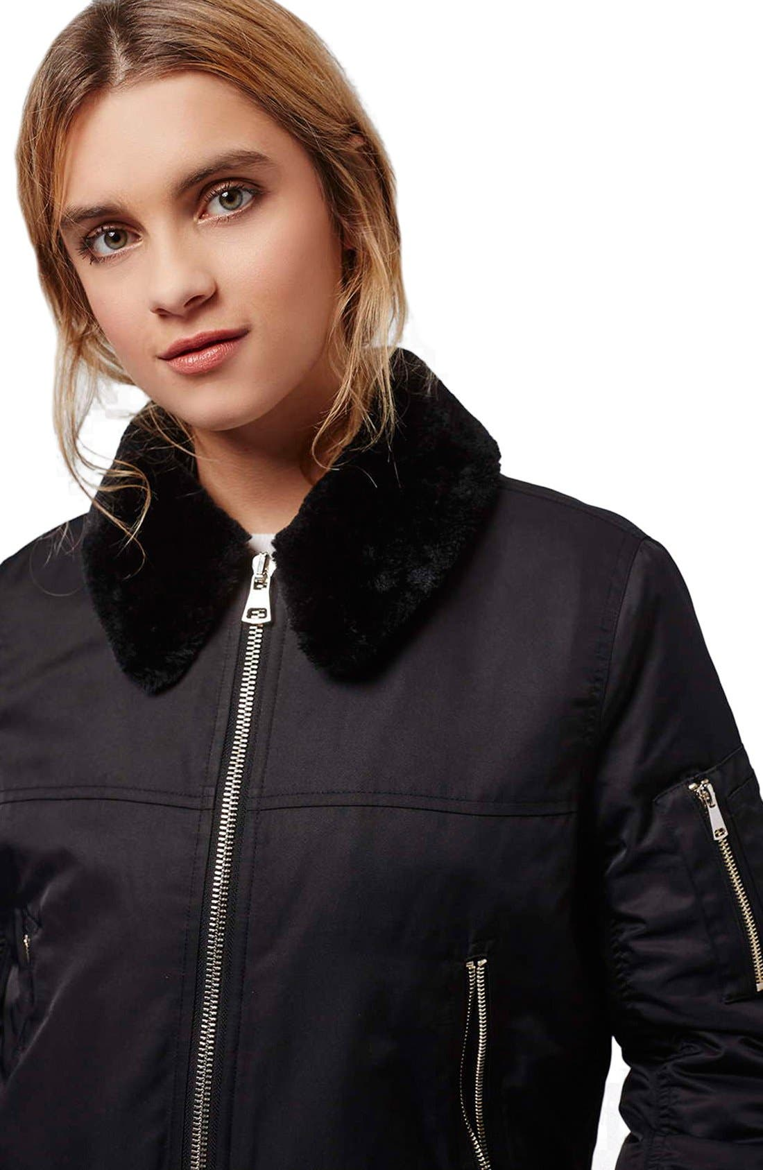Alternate Image 5  - Topshop 'MA1' Bomber Jacket with Faux Fur Collar (Petite)