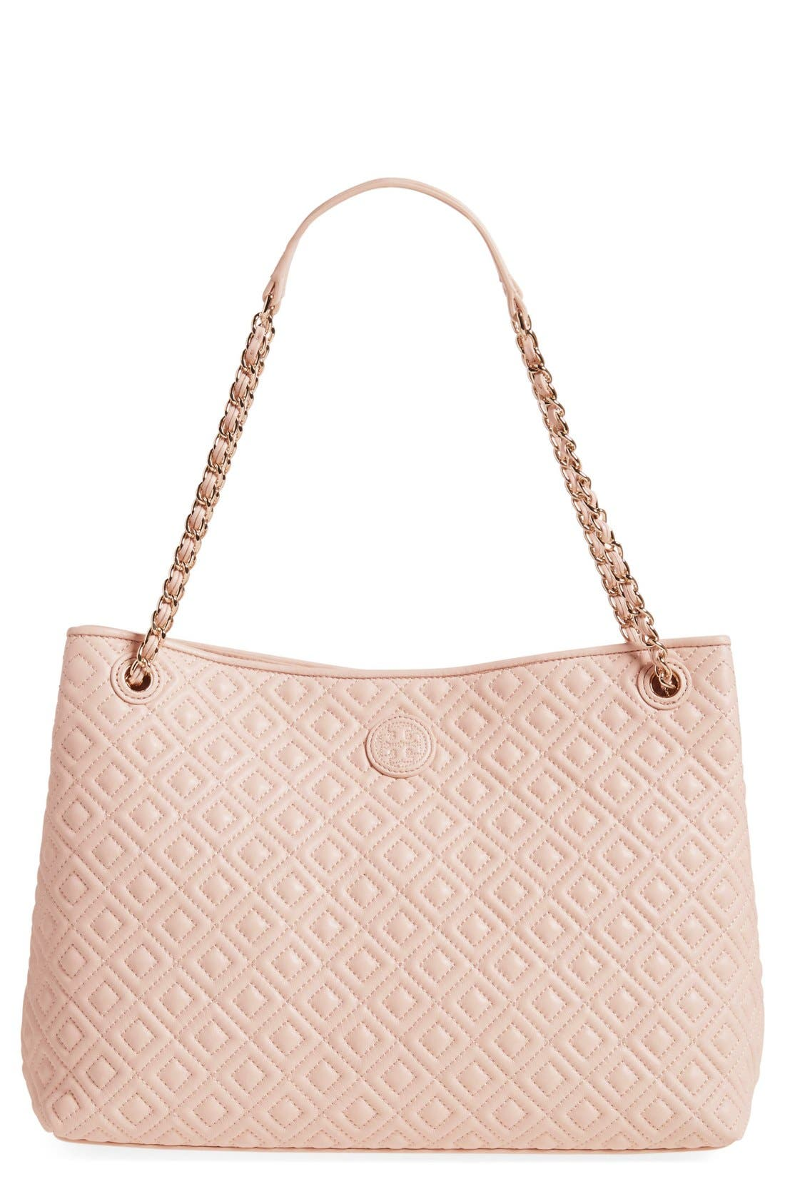 Main Image - Tory Burch 'Marion' Diamond Quilted Lambskin Leather Tote