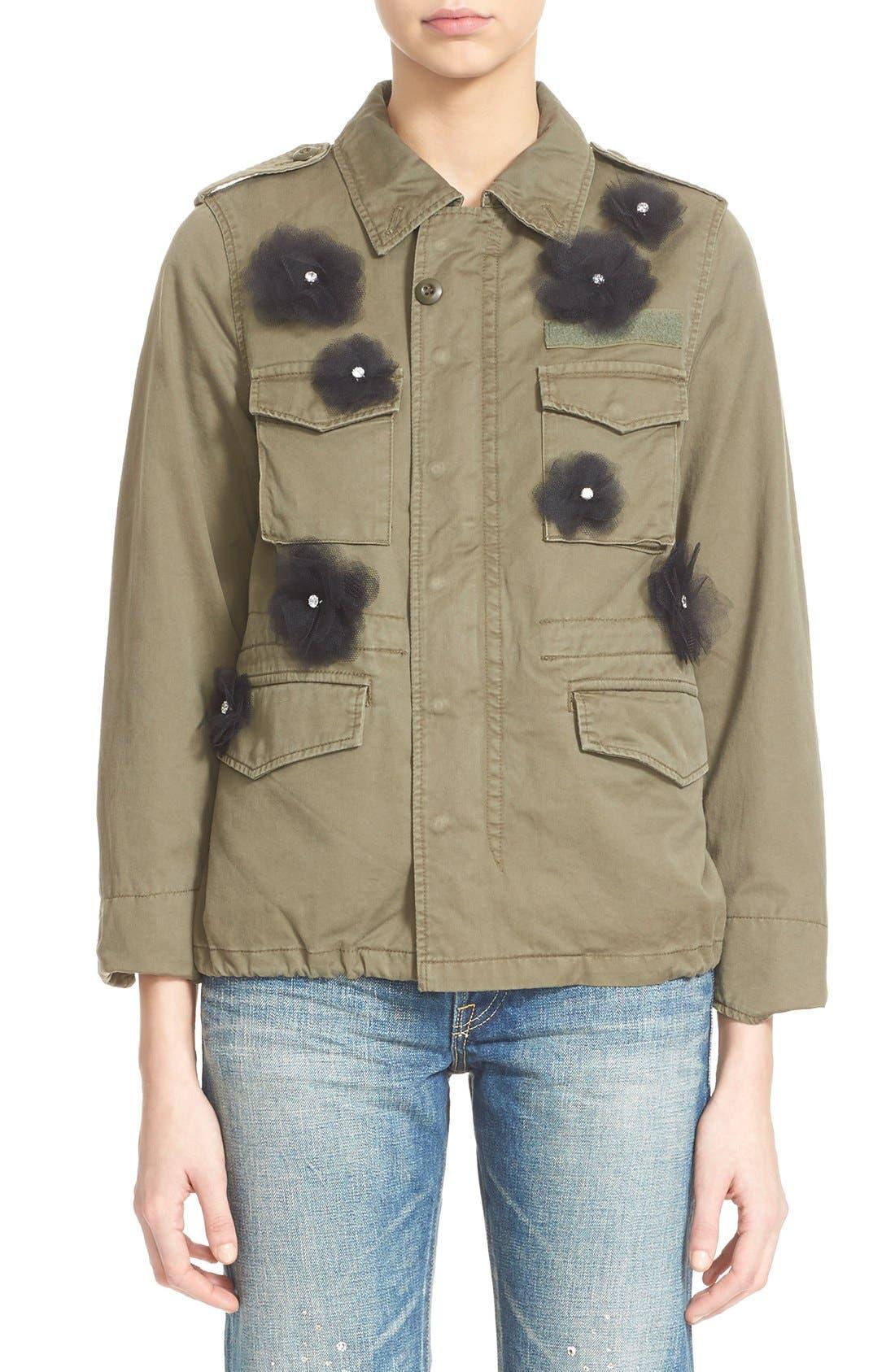 Alternate Image 1 Selected - Tu es mon TRÉSOR Tulle Flower Military Jacket
