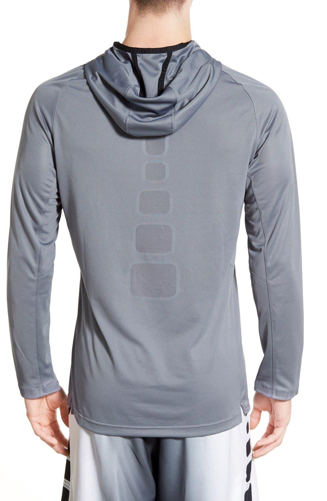 Alternate Image 2  - Nike 'Elite Shooter - Dri-FIT' Long Sleeve Hooded Basketball Shirt