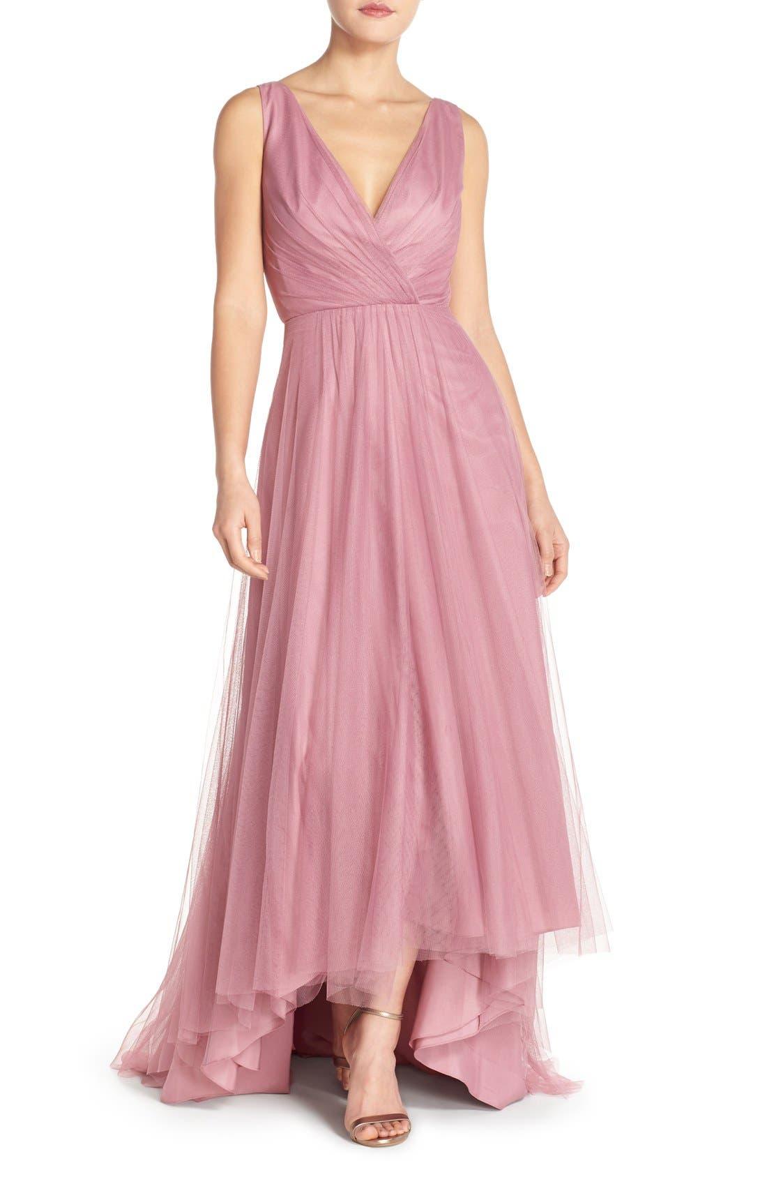 MONIQUE LHUILLIER BRIDESMAIDS Pleat Tulle V-Neck High/Low Gown