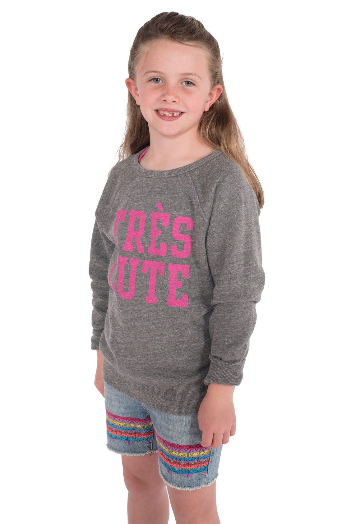 Alternate Image 1 Selected - Peek 'Très Cute' Graphic Sweatshirt (Toddler Girls, Little Girls & Big Girls)