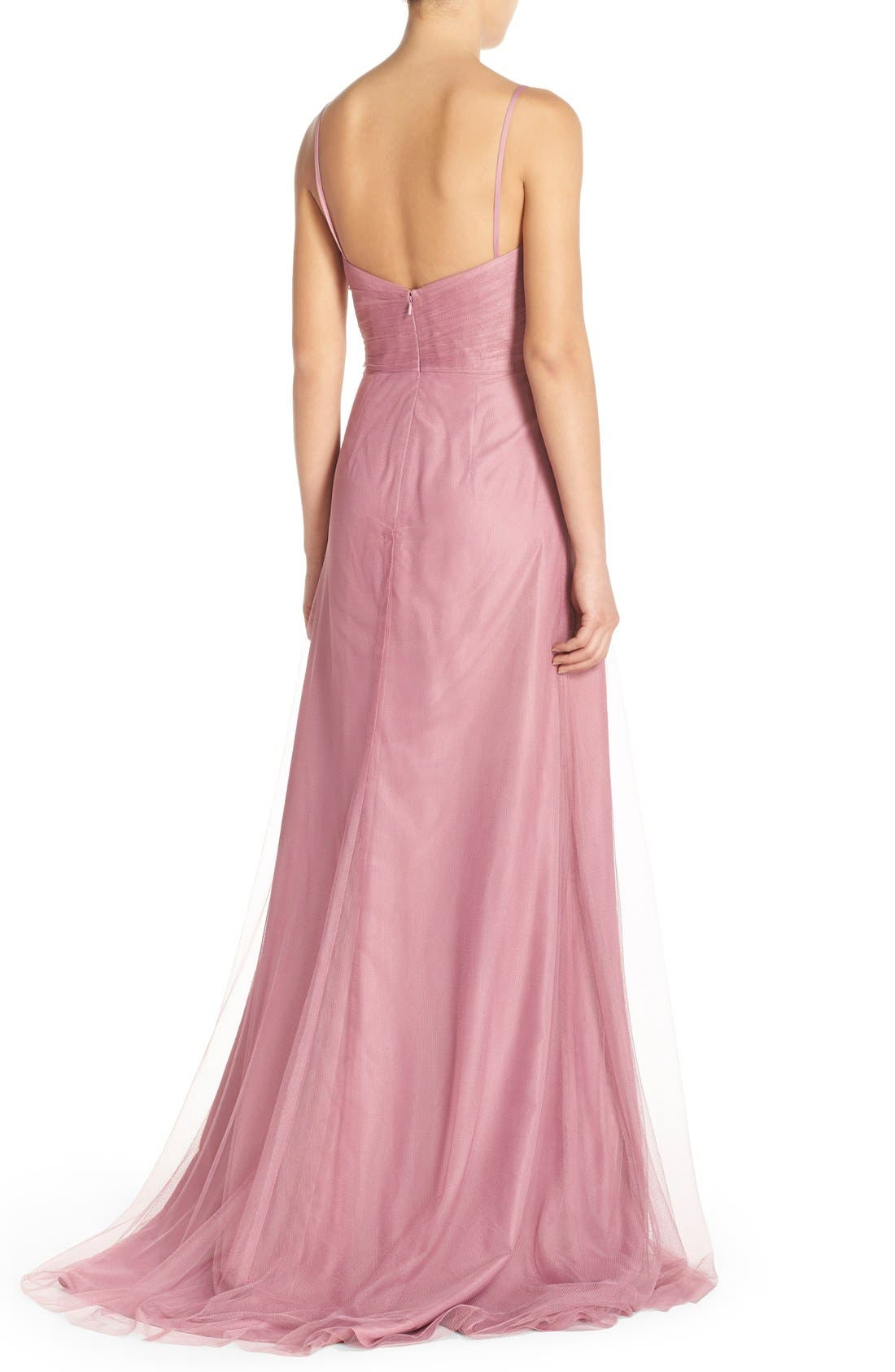 Alternate Image 2  - Monique Lhuillier Bridesmaids Surplice Tulle Gown