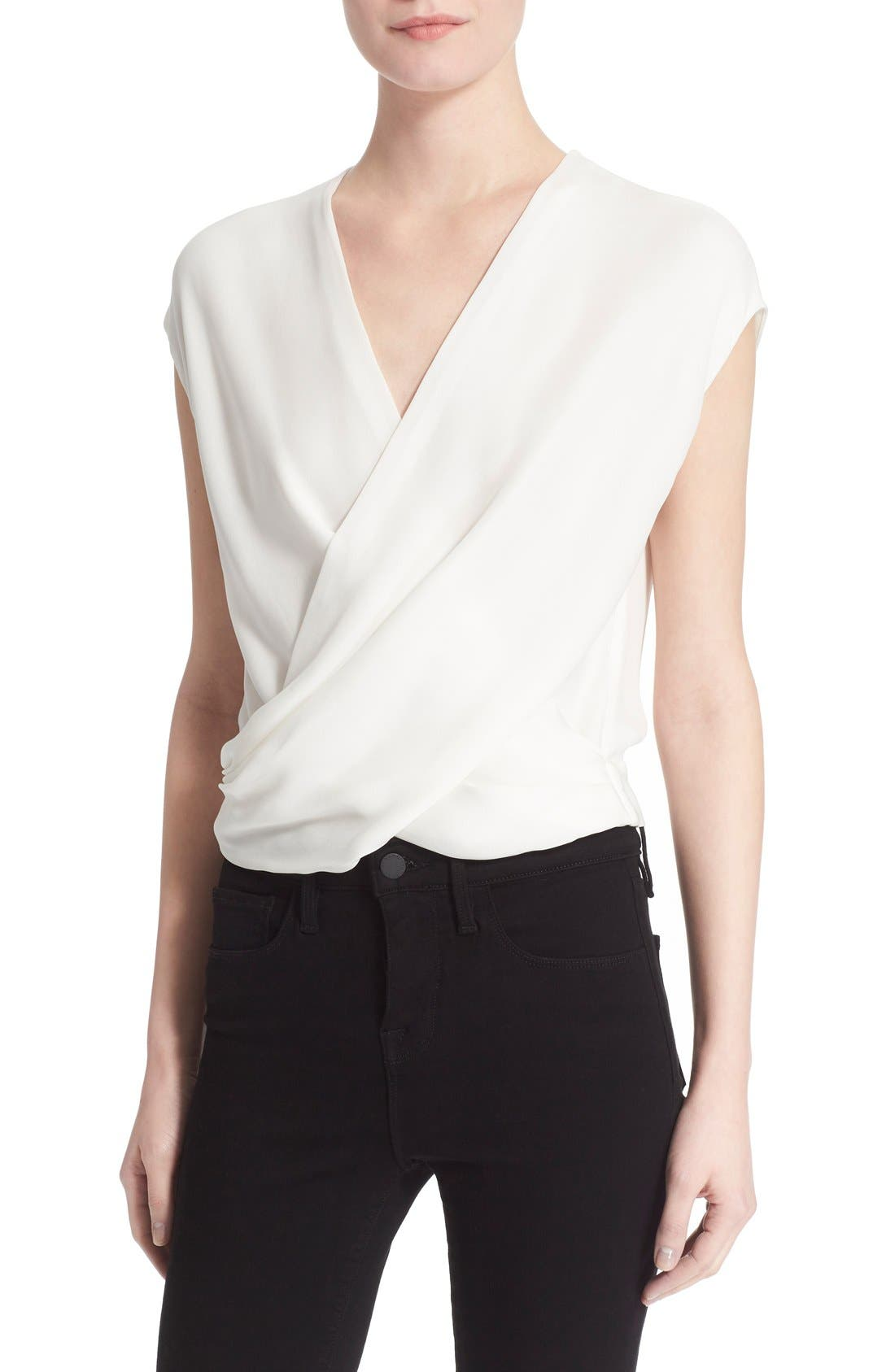 Main Image - L'AGENCE 'T-Lee' Drape Silk Blouse