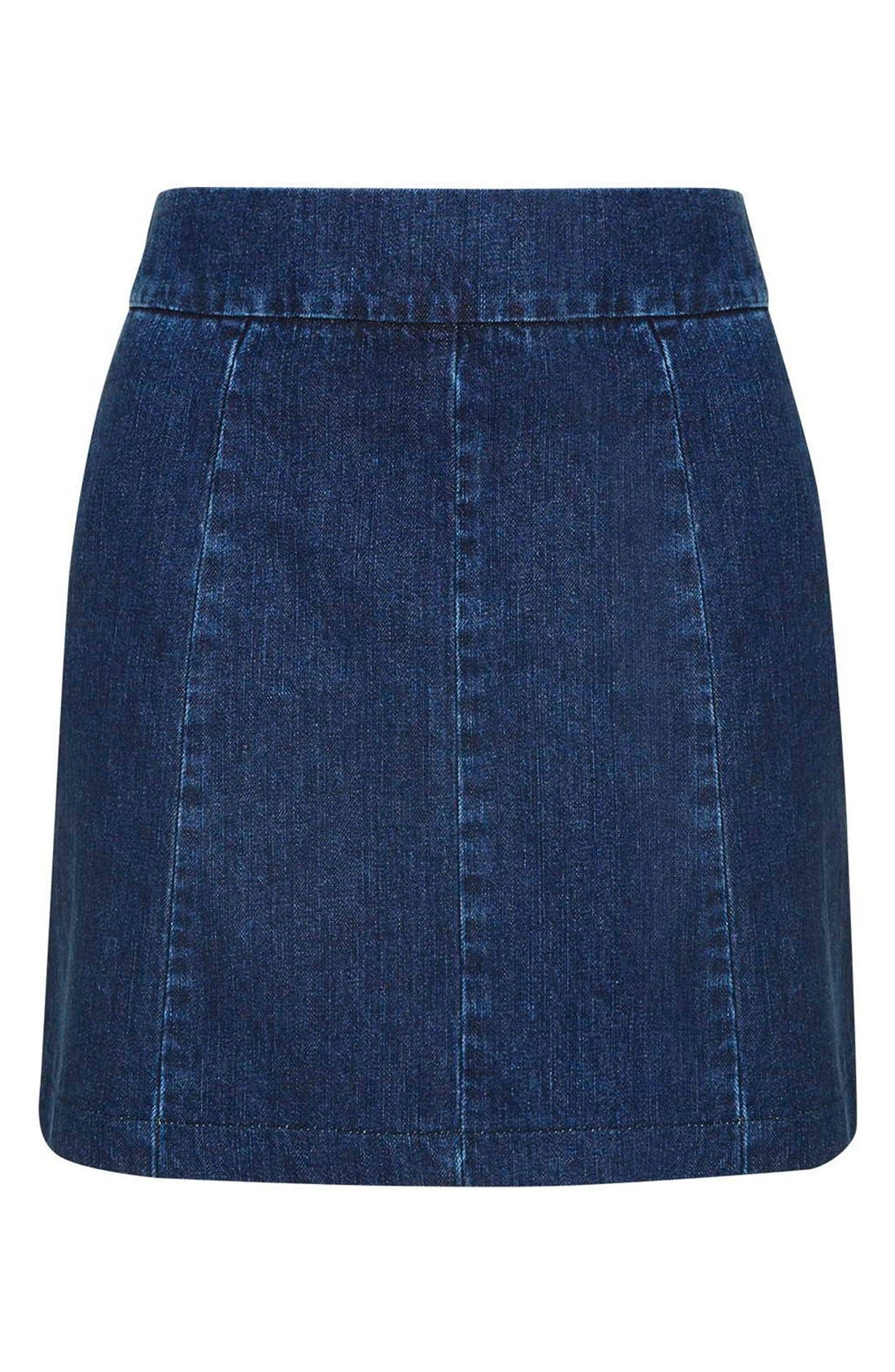 Alternate Image 4  - Topshop A-Line Denim Miniskirt