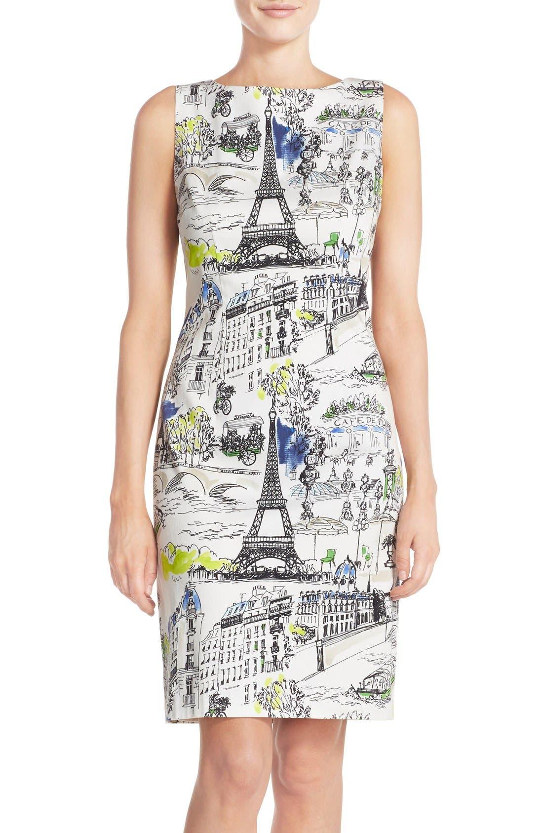 Chetta B Paris Print Sateen Sheath Dress Nordstrom