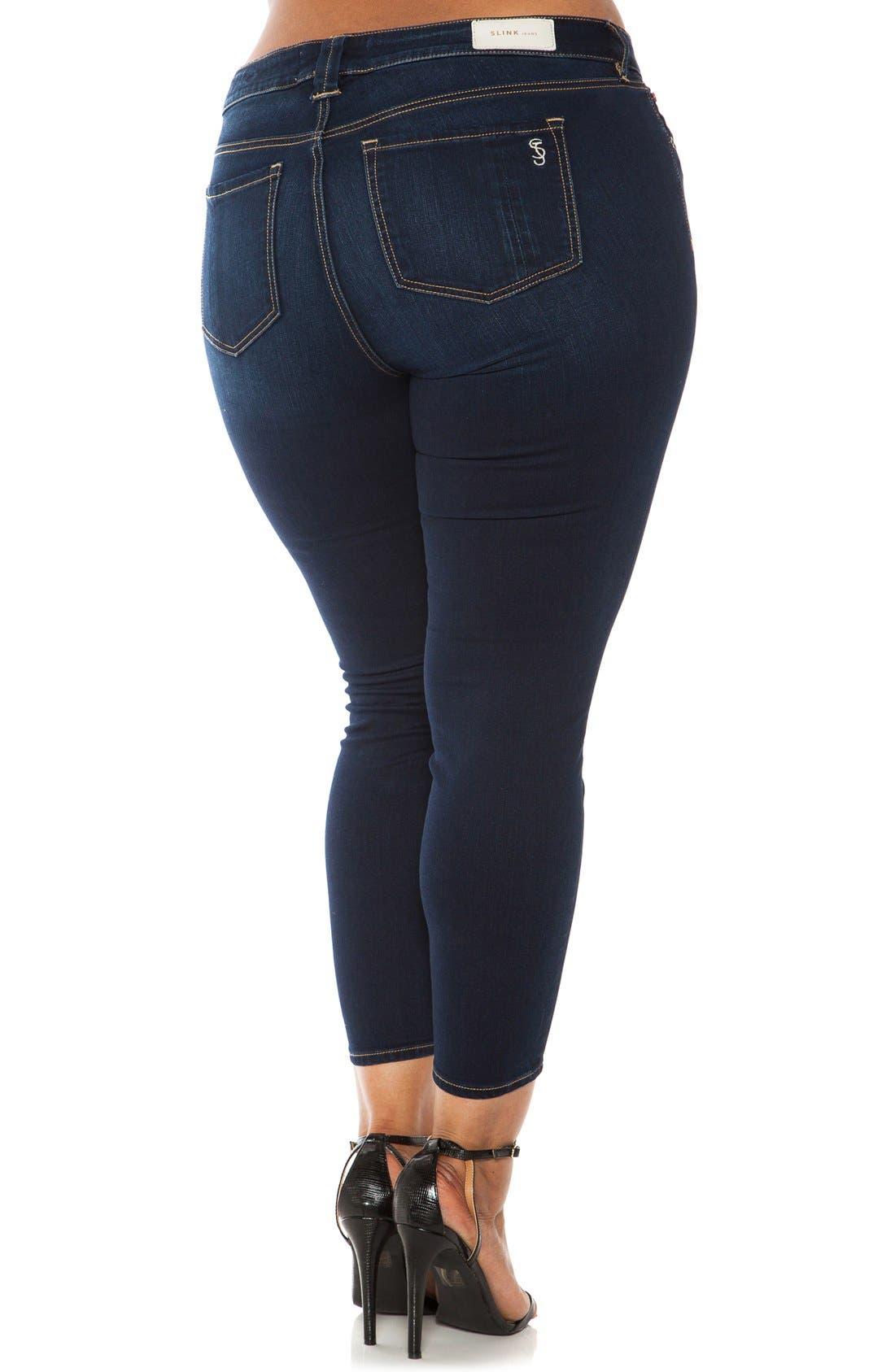 Alternate Image 2  - SLINK Jeans Stretch Ankle Skinny Jeans (Plus Size)