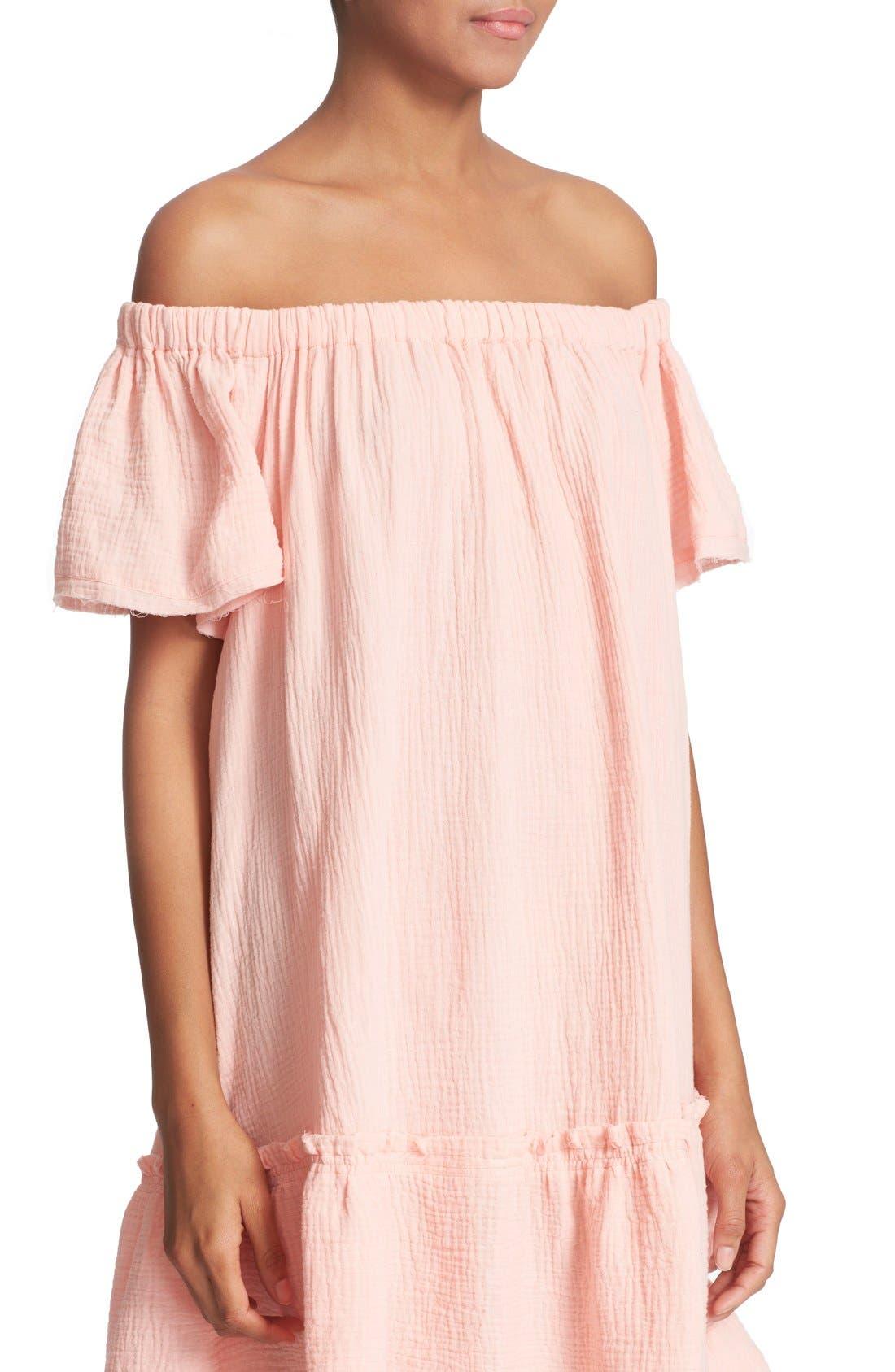 Alternate Image 4  - Rebecca Taylor Off the Shoulder Cotton Swing Dress