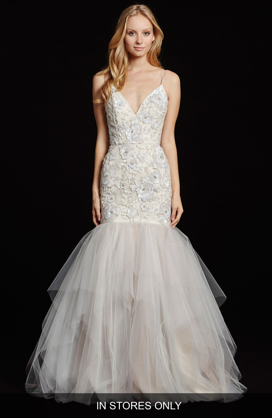 Hayley Paige 'Honor' Embellished V-Neck Mermaid Gown (In Stores Only)