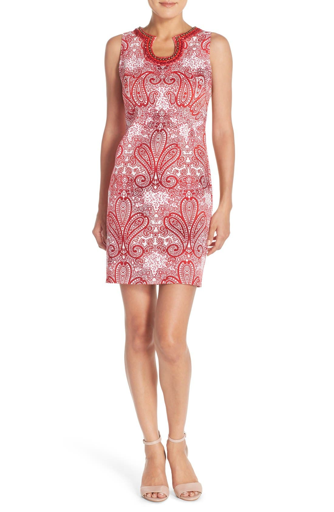 Alternate Image 4  - London Times 'Regal Ombré' Embellished Paisley Print Sleeveless Shift Dress