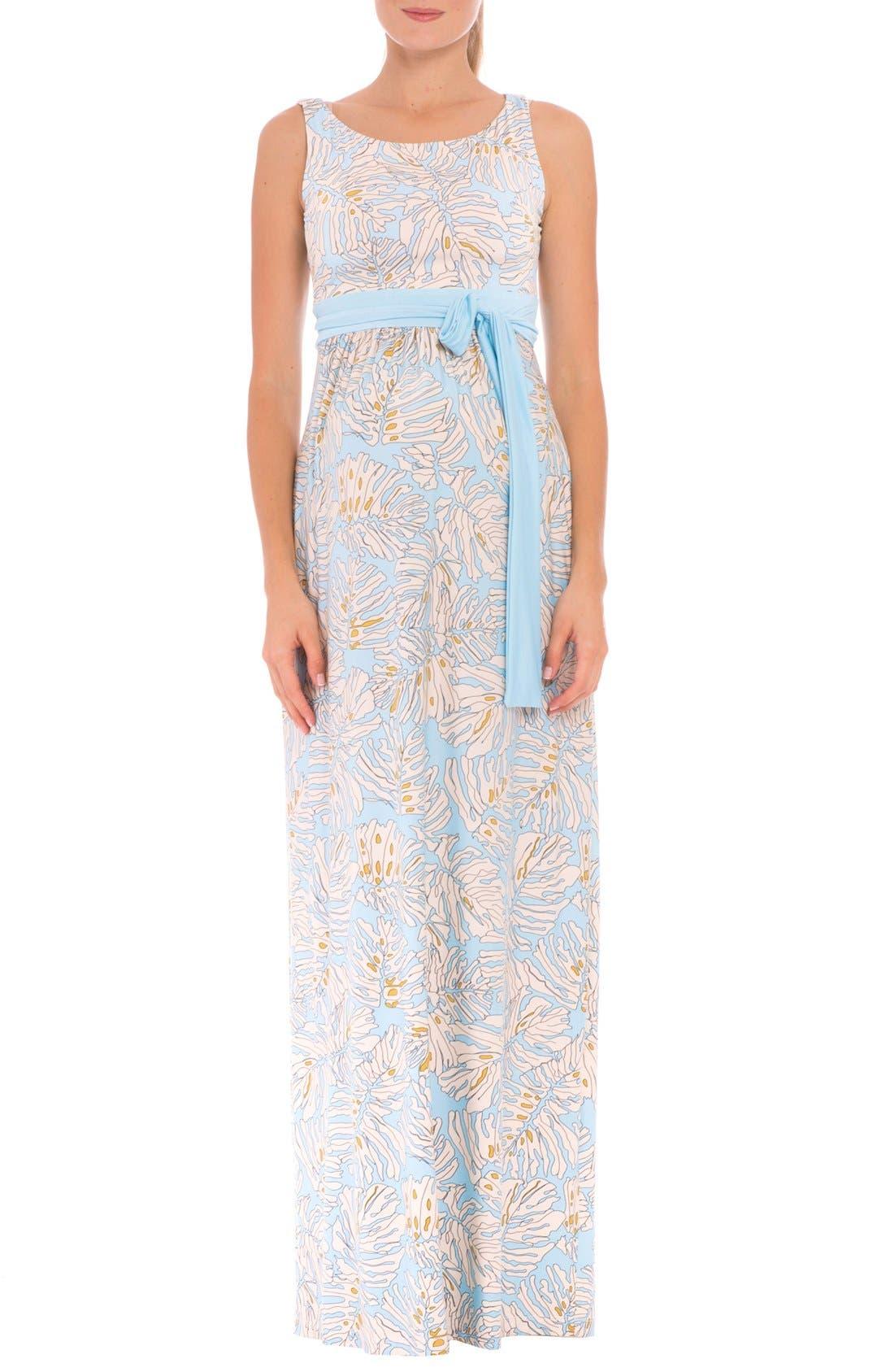 Olian 'Scarlet' Boatneck Maternity Maxi Dress