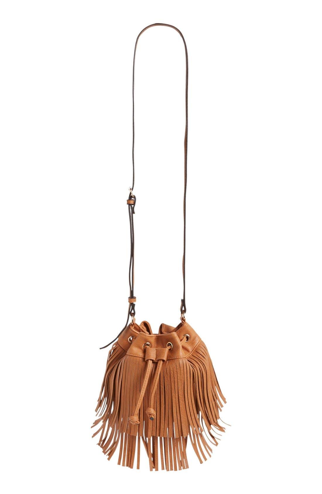 Main Image - Sole Society Mini Fringe Faux Leather Bucket Bag