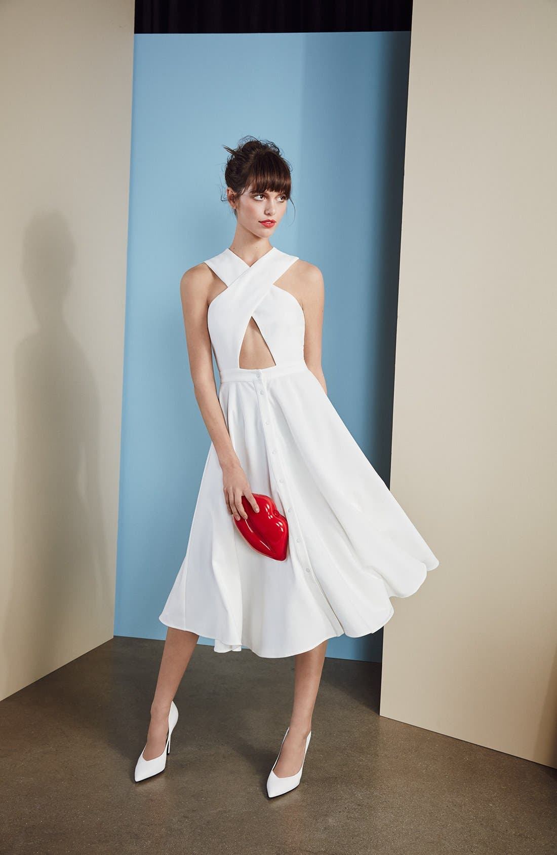 Alternate Image 7  - KENDALL + KYLIE Crossover Bodice Midi Dress