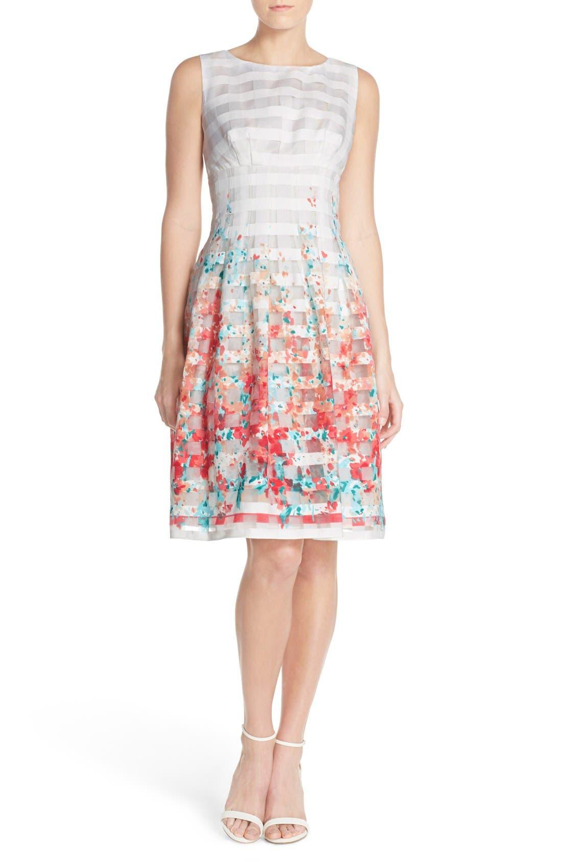 Alternate Image 4  - Chetta B Floral Organza Fit & Flare Dress