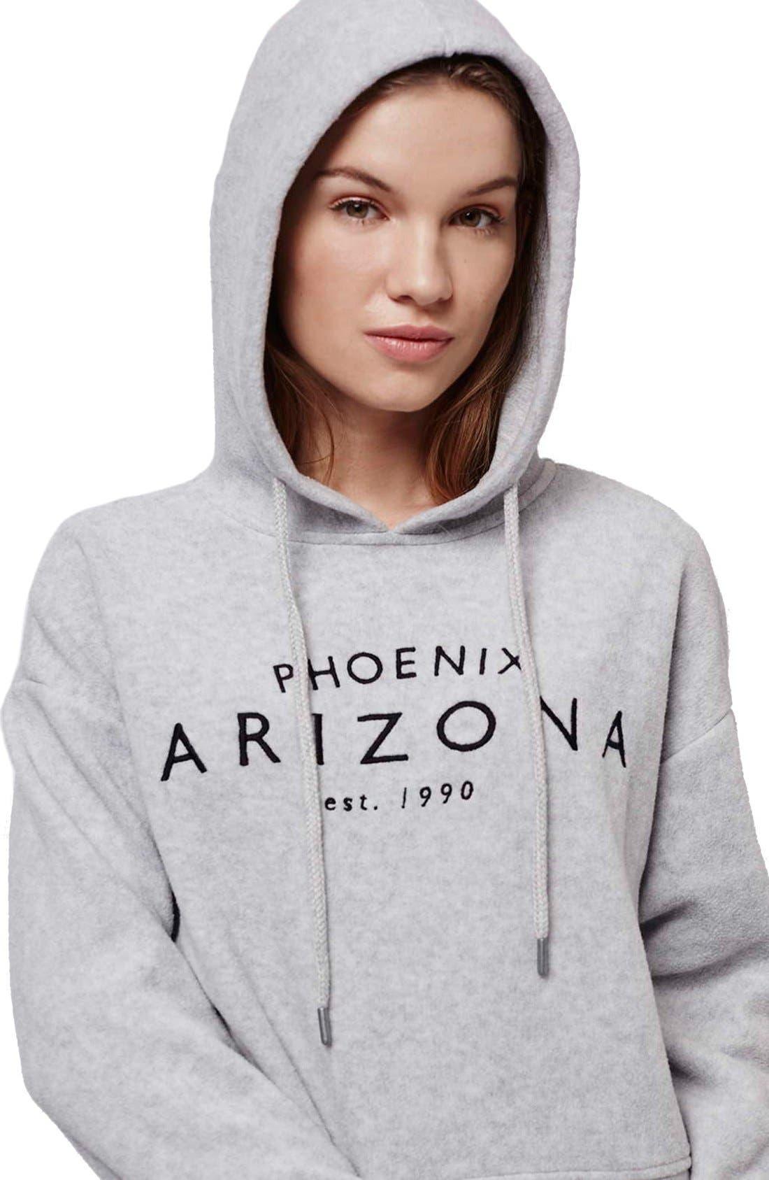 Alternate Image 6  - Topshop 'Arizona' Embroidered Brushed Fleece Hoodie