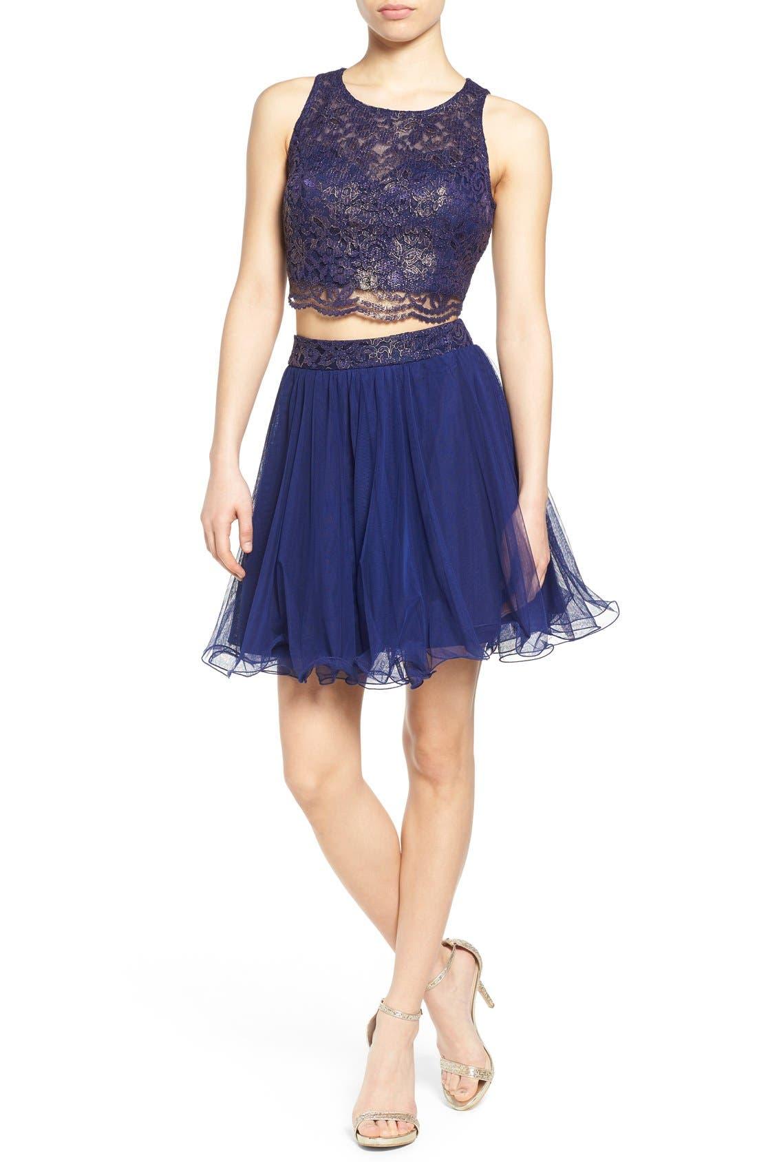 Main Image - Secret Charm 'Gina' Metallic Lace Two-Piece Skater Dress