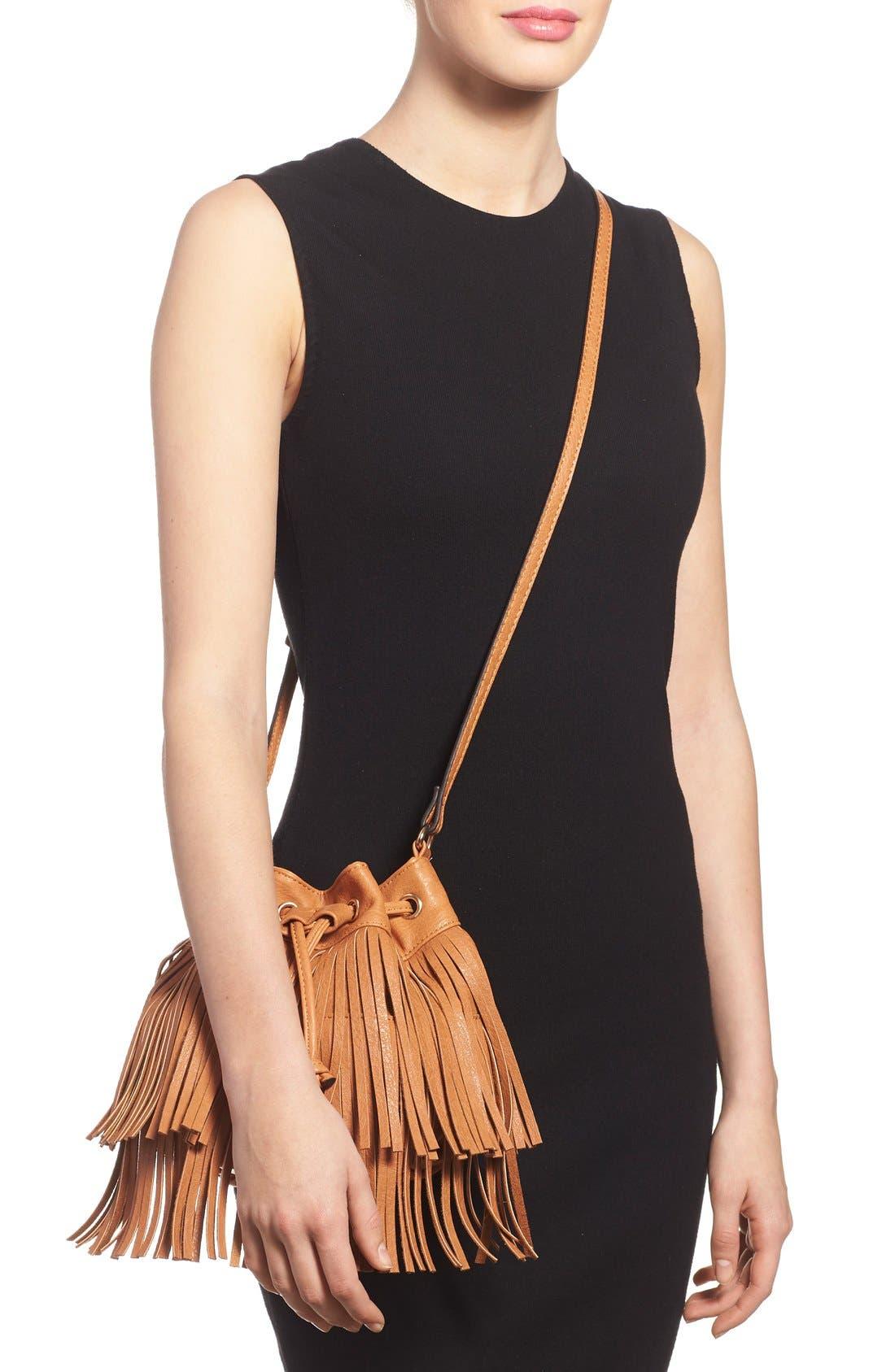 Alternate Image 2  - Sole Society Mini Fringe Faux Leather Bucket Bag