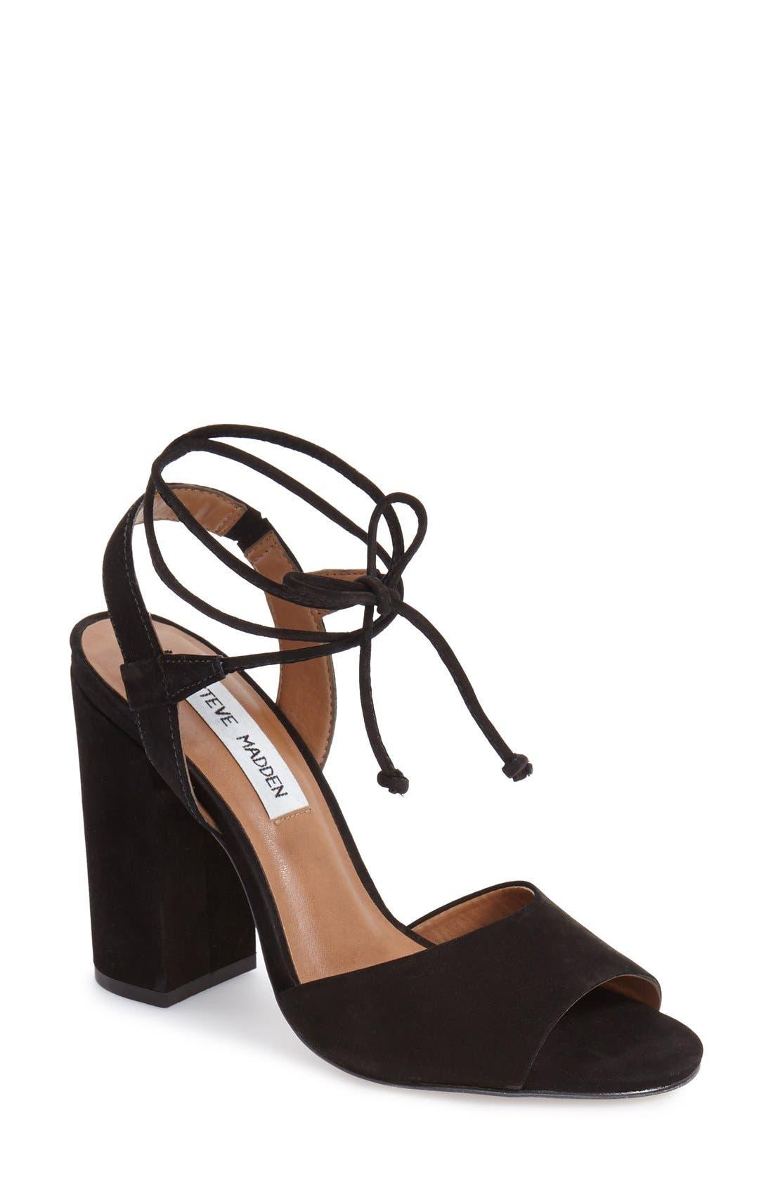 Main Image - Steve Madden 'Serrina' Block Heel Lace Up Sandal (Women)