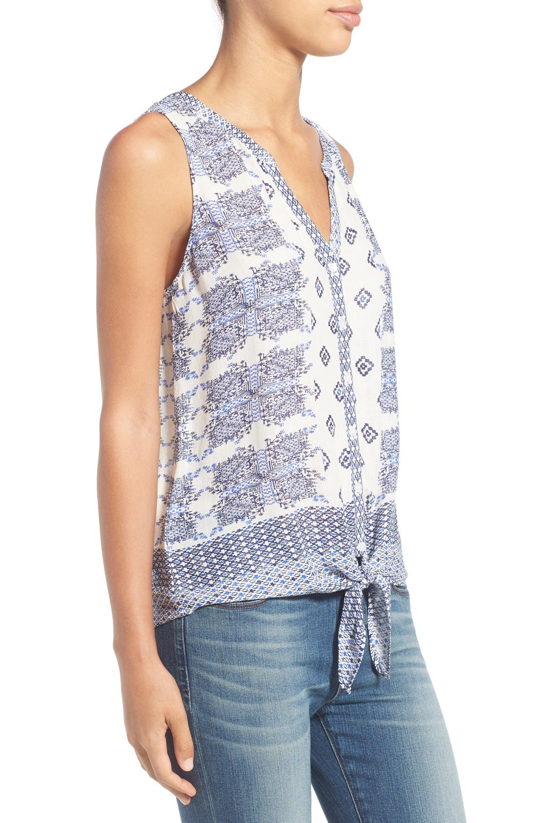Alternate Image 3  - Lucky Brand Geo Print Sleeveless Tie Front Top