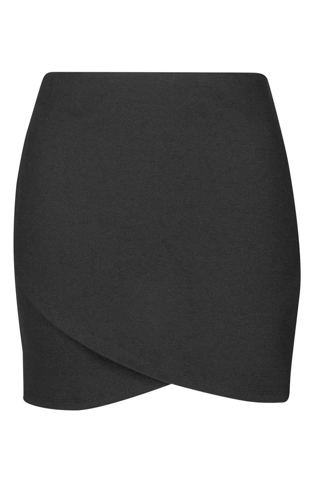 Alternate Image 4  - Topshop Curved Faux Wrap Miniskirt (Petite)