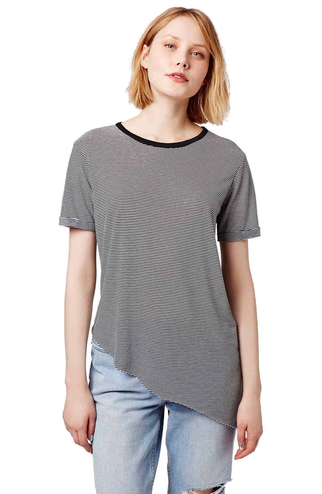 Alternate Image 1 Selected - Topshop Stripe Asymmetrical Tee