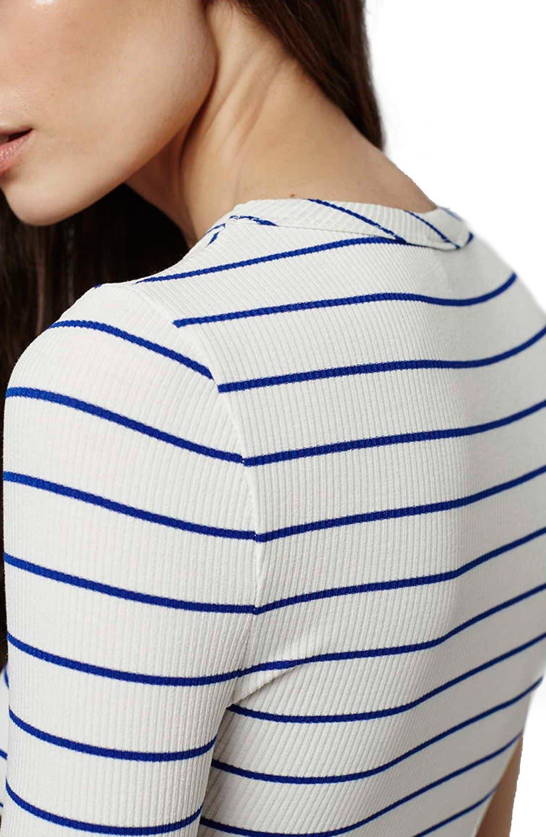 Alternate Image 4  - Topshop Stripe Crewneck Bodysuit (Regular & Petite)