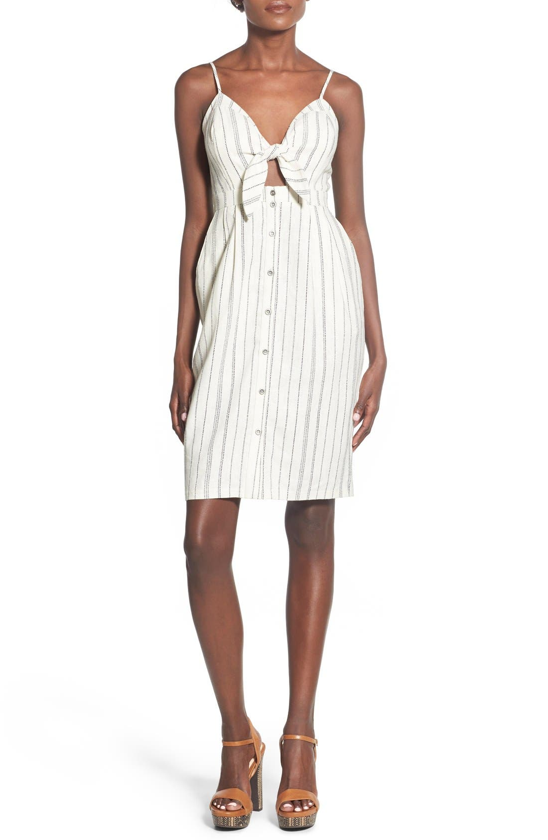 Astr Tie Front Button Down Midi Dress Nordstrom